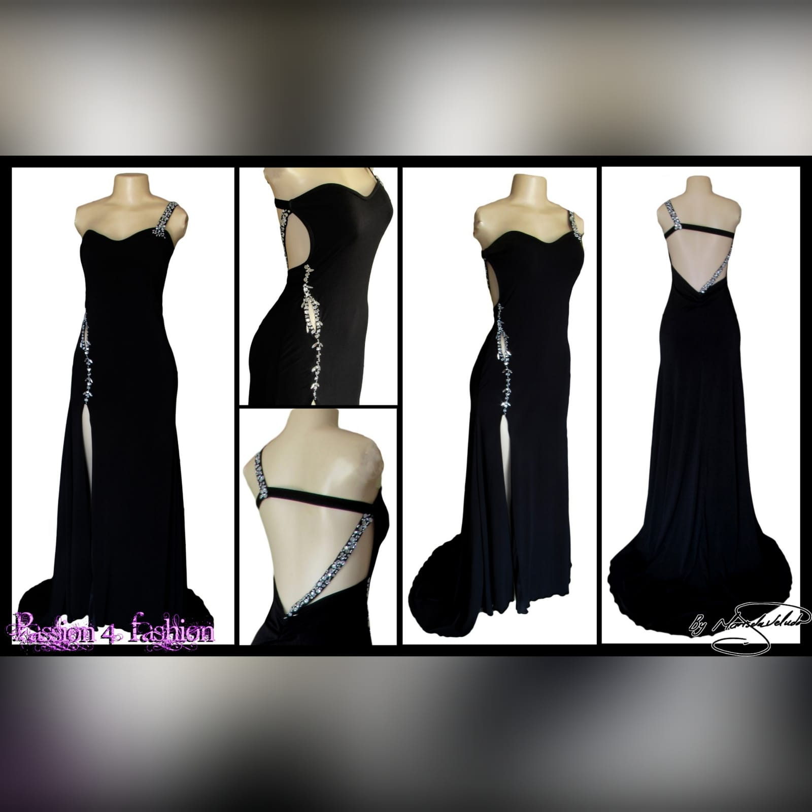 Black long formal dress with a low open back 2 black long formal dress with a low open back. Shoulder strap design detailed with silver beads and a slit.