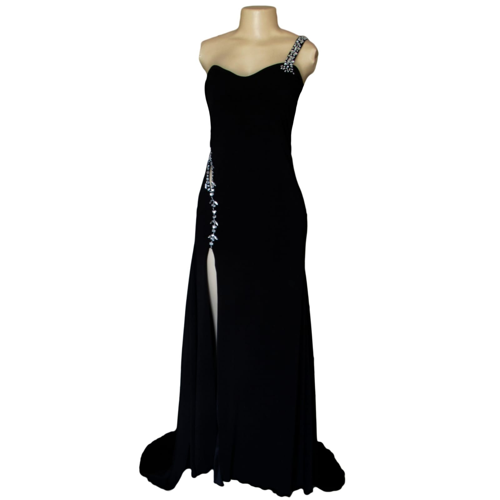 Black long formal dress with a low open back 3 black long formal dress with a low open back. Shoulder strap design detailed with silver beads and a slit.
