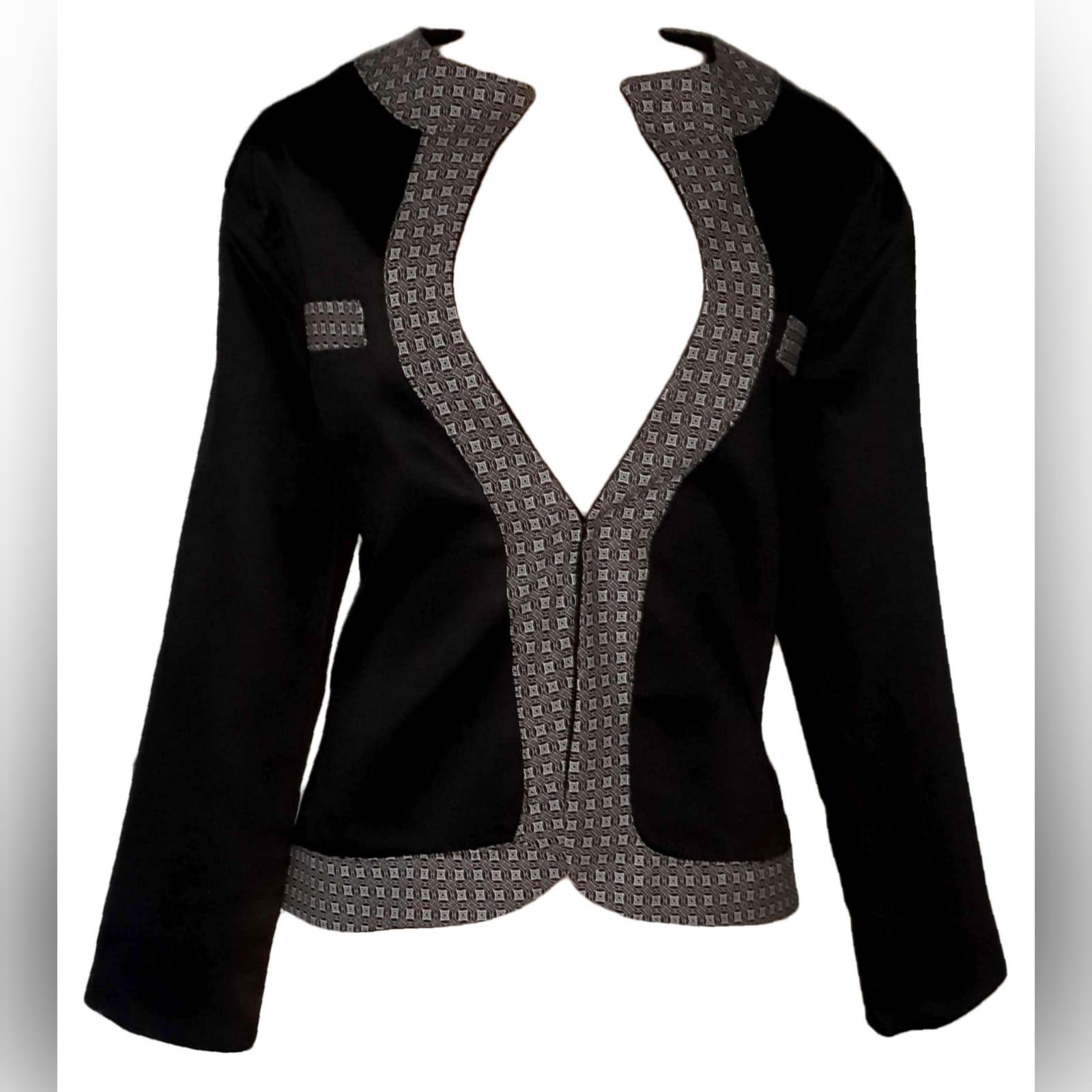 Black modern traditional ladies jacket 4 black modern traditional ladies jacket trimmed with shweshwe (brown)