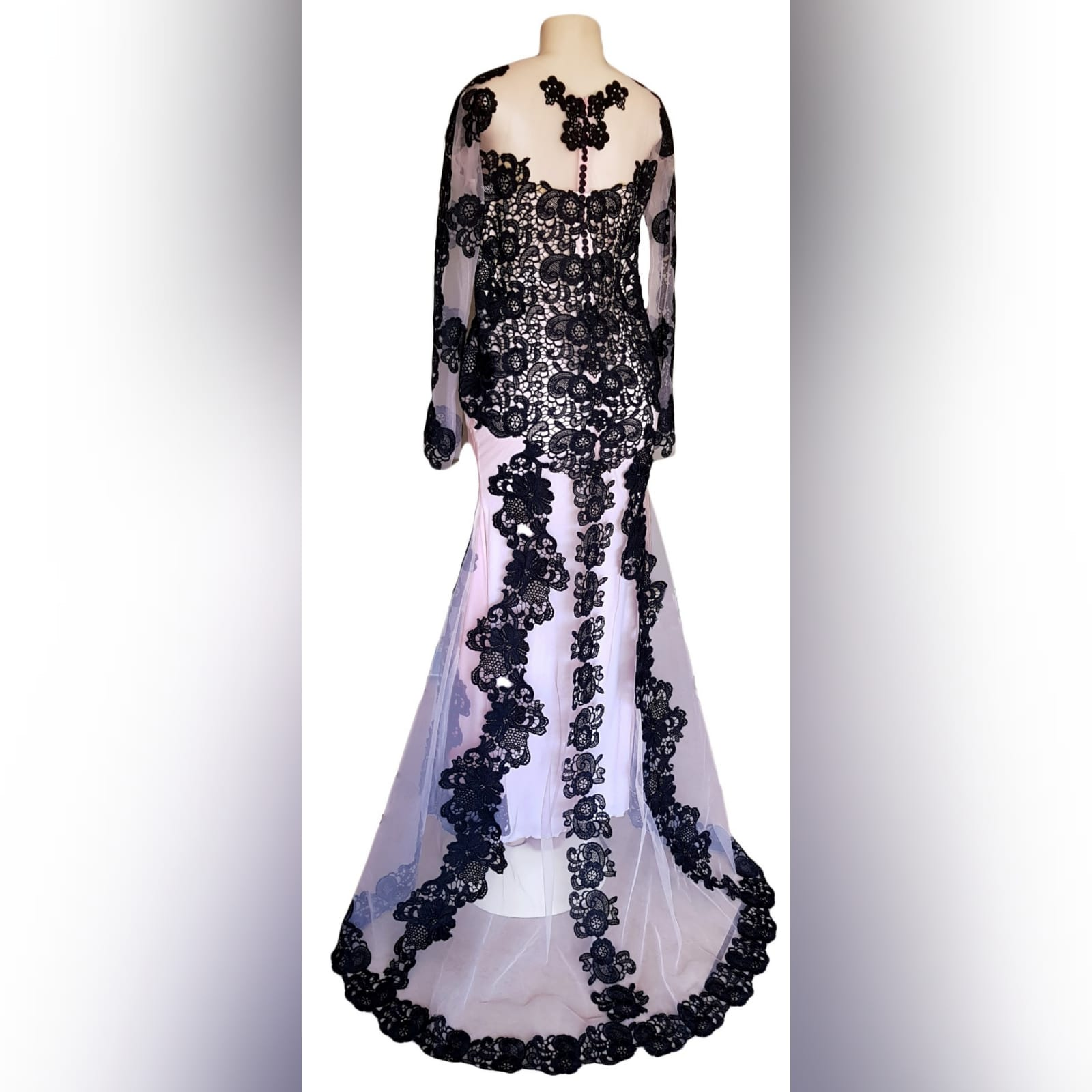 Black & nude lace formal awards ceremony dress 1 black & nude lace formal awards ceremony dress with long illusion lace sleeves, a train and covered buttons for back detail.