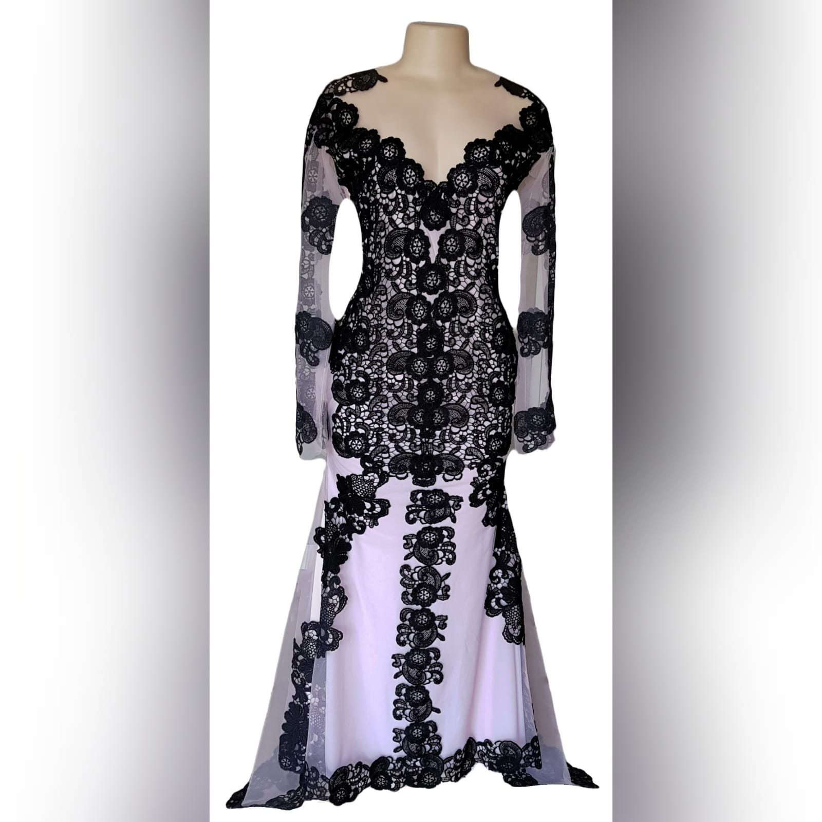 Black & nude lace formal awards ceremony dress 2 black & nude lace formal awards ceremony dress with long illusion lace sleeves, a train and covered buttons for back detail.