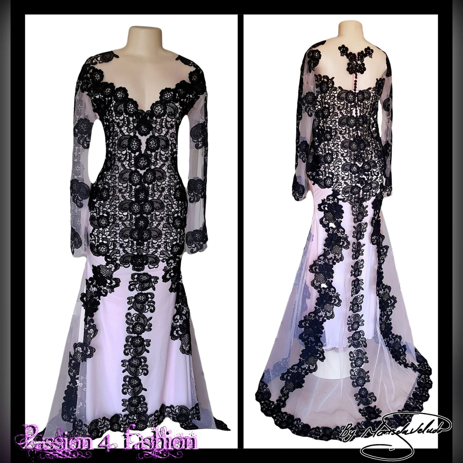 Black & nude lace formal awards ceremony dress 3 black & nude lace formal awards ceremony dress with long illusion lace sleeves, a train and covered buttons for back detail.