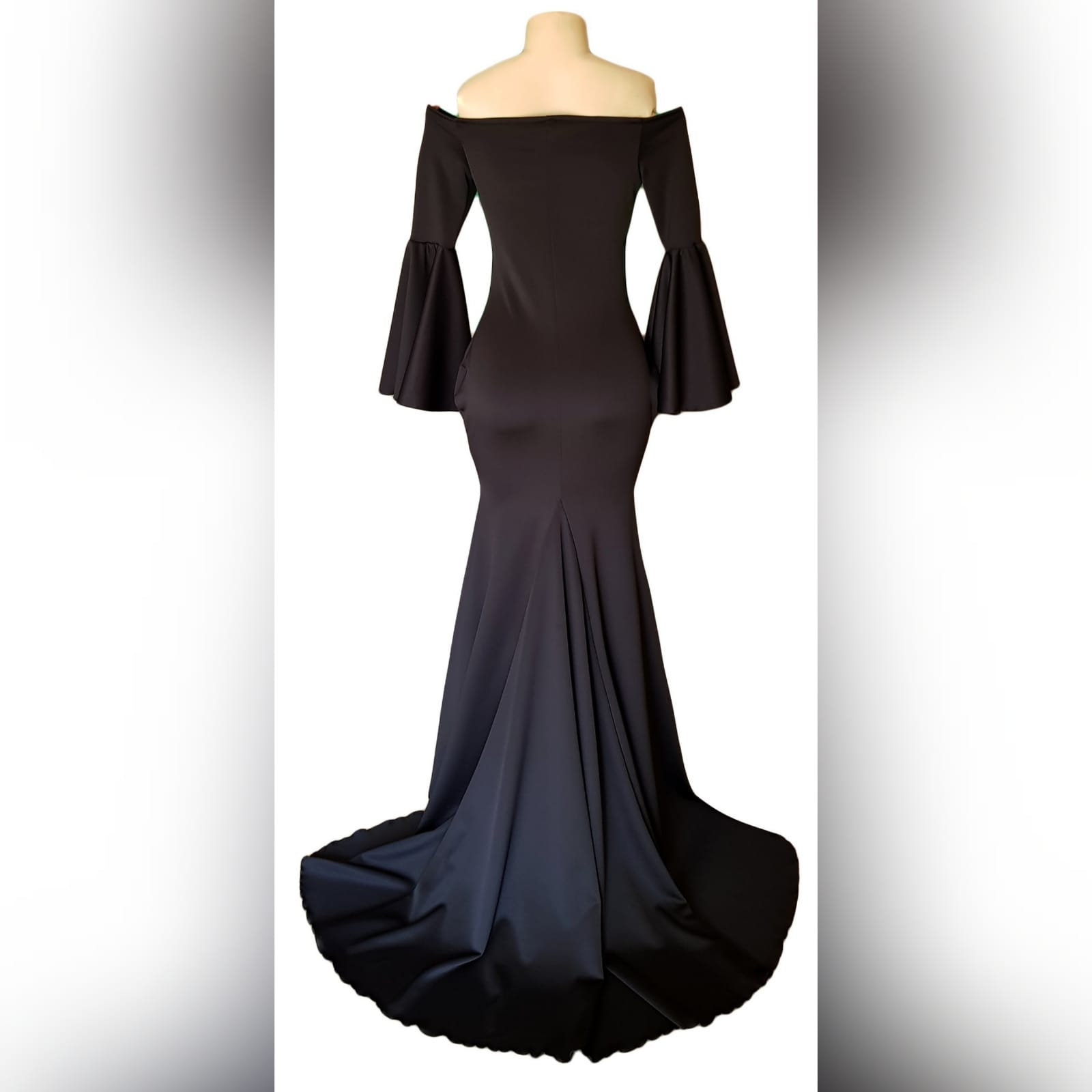 Black off shoulder boob tube matric farewell dress 4 black off shoulder boob tube matric farewell dress with bell long sleeves in a soft mermaid, with train.