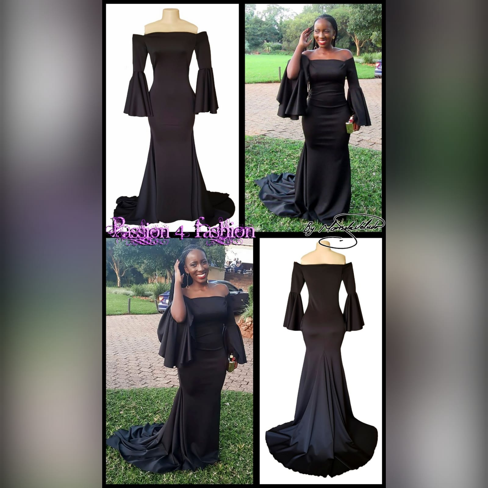 Black off shoulder boob tube matric farewell dress 5 black off shoulder boob tube matric farewell dress with bell long sleeves in a soft mermaid, with train.