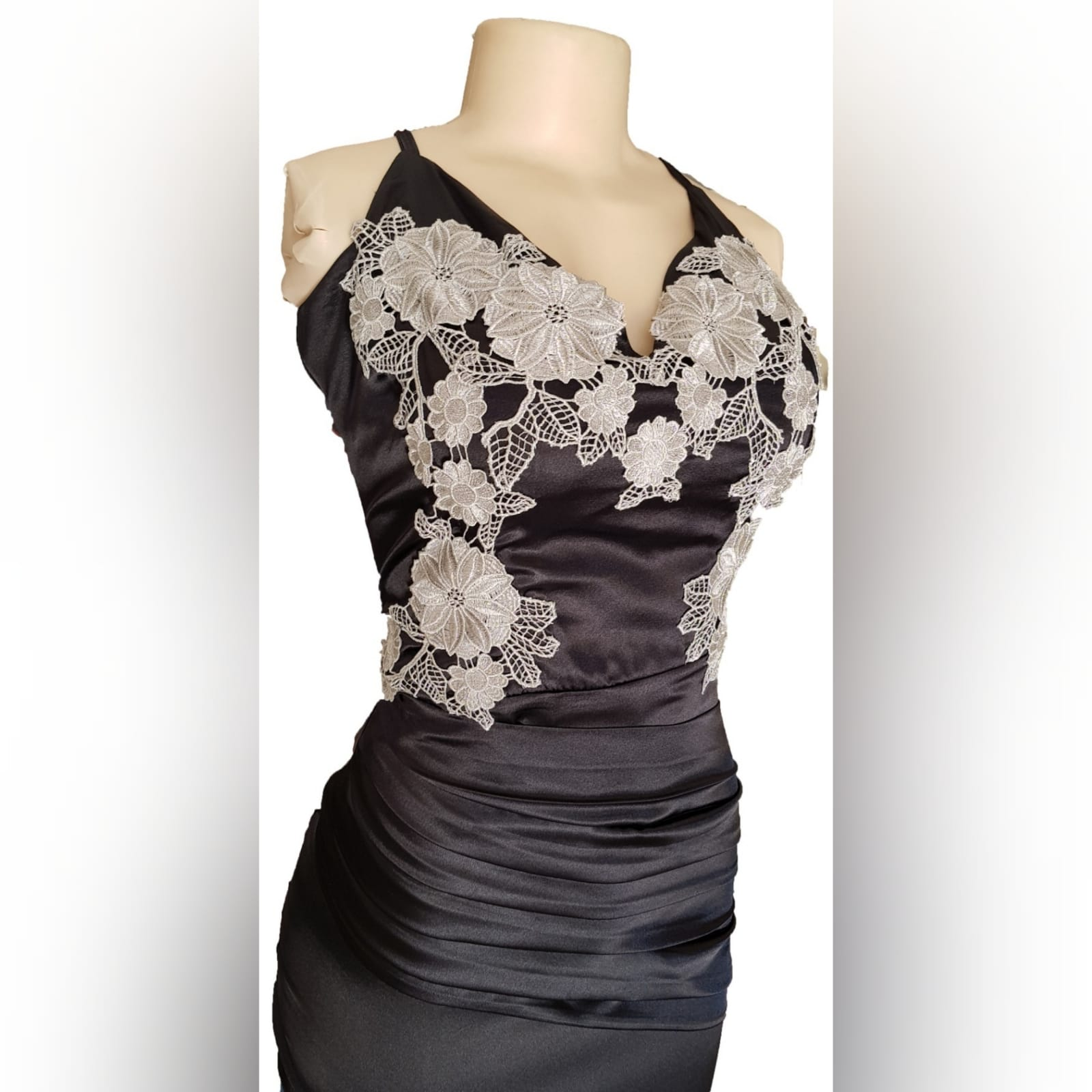 Black satin long fitted prom dress 6 a black satin long fitted prom dress with silver lace detail, will add an elegance to your special event.