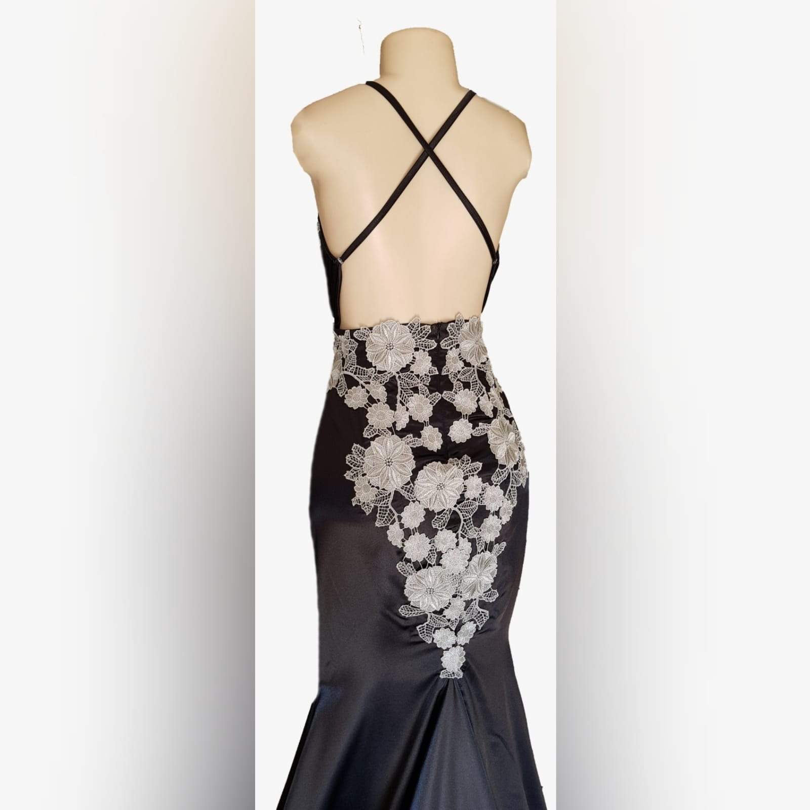 Black satin long fitted prom dress 7 a black satin long fitted prom dress with silver lace detail, will add an elegance to your special event.