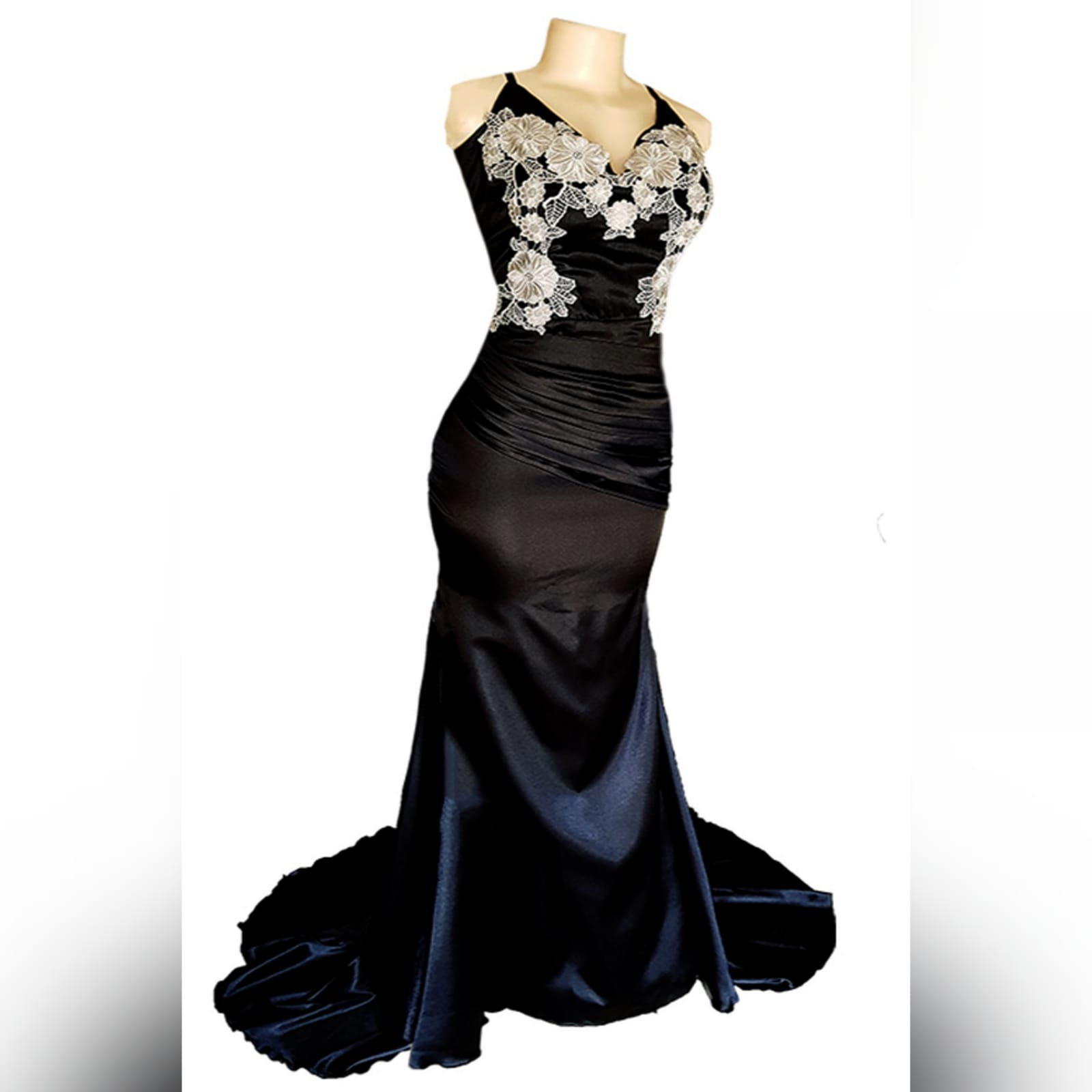 Black satin long fitted prom dress 8 a black satin long fitted prom dress with silver lace detail, will add an elegance to your special event.