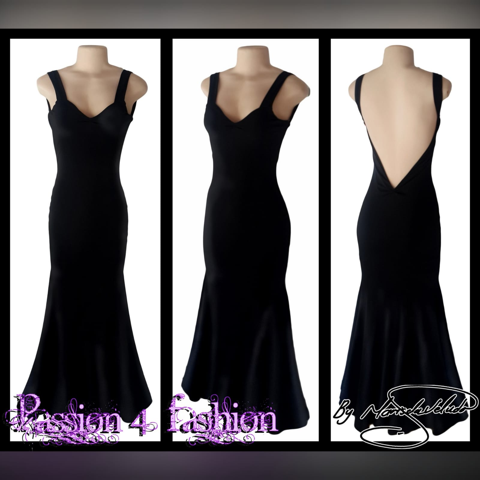 Black sexy evening dress fitted till the hip 2 black sexy evening dress fitted till the hip, with a low v open back. Straps with a sweetheart neckline.