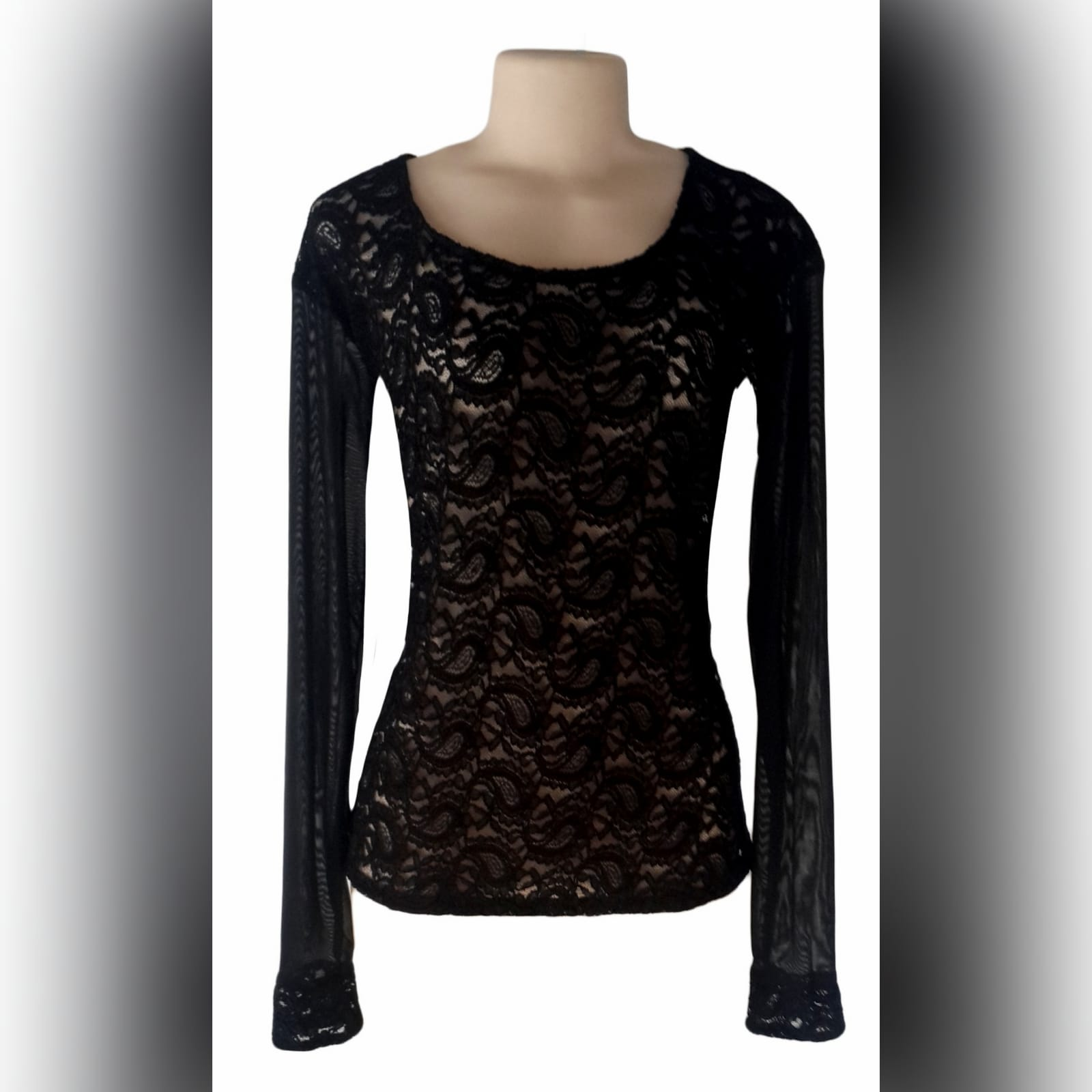 Black sheer lace long sleeve top 3 black sheer lace, long sleeve matric after party, smart casual top