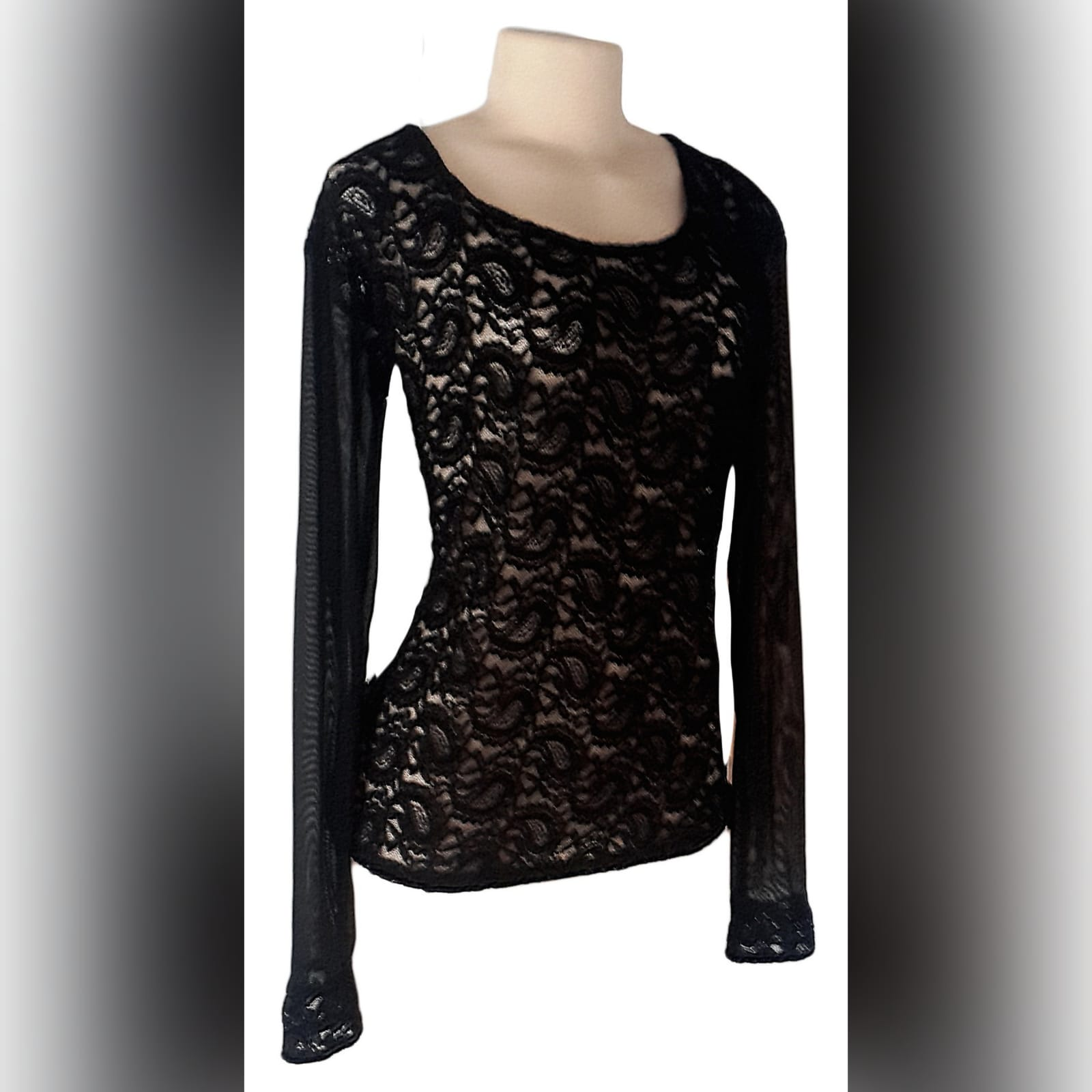 Black sheer lace long sleeve top 1 black sheer lace, long sleeve matric after party, smart casual top
