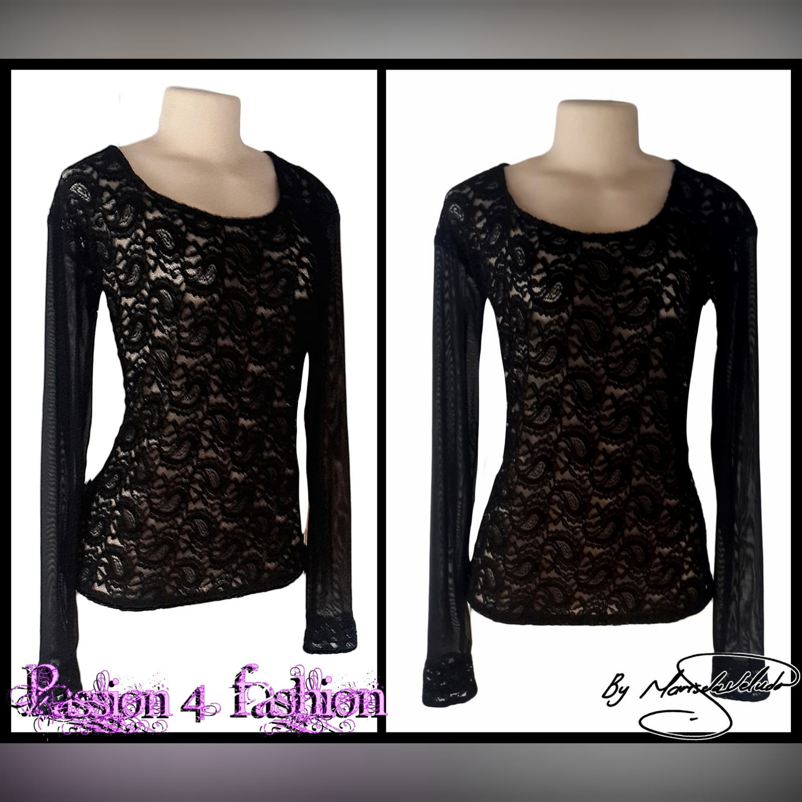 Black sheer lace long sleeve top 2 black sheer lace, long sleeve matric after party, smart casual top