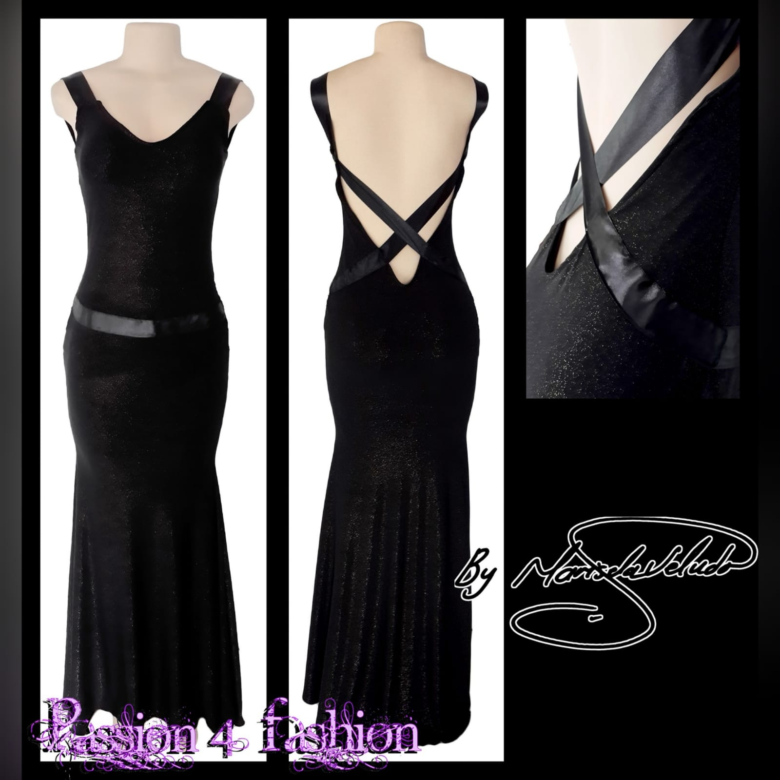 Black shimmer long gala evening dress 2 black shimmer long gala evening dress, with a low v open back. With ribbon creating a belt and a cross at the back