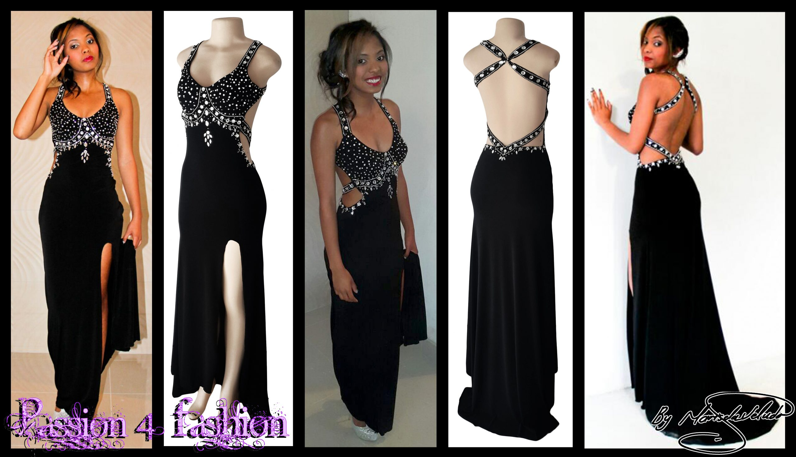 Black and silver prom dress with a low open back 8 black & silver prom dress with a low open back, a slit and train. Slightly open on the side of the tummy. Back straps and bodice detailed with silver beads and diamante