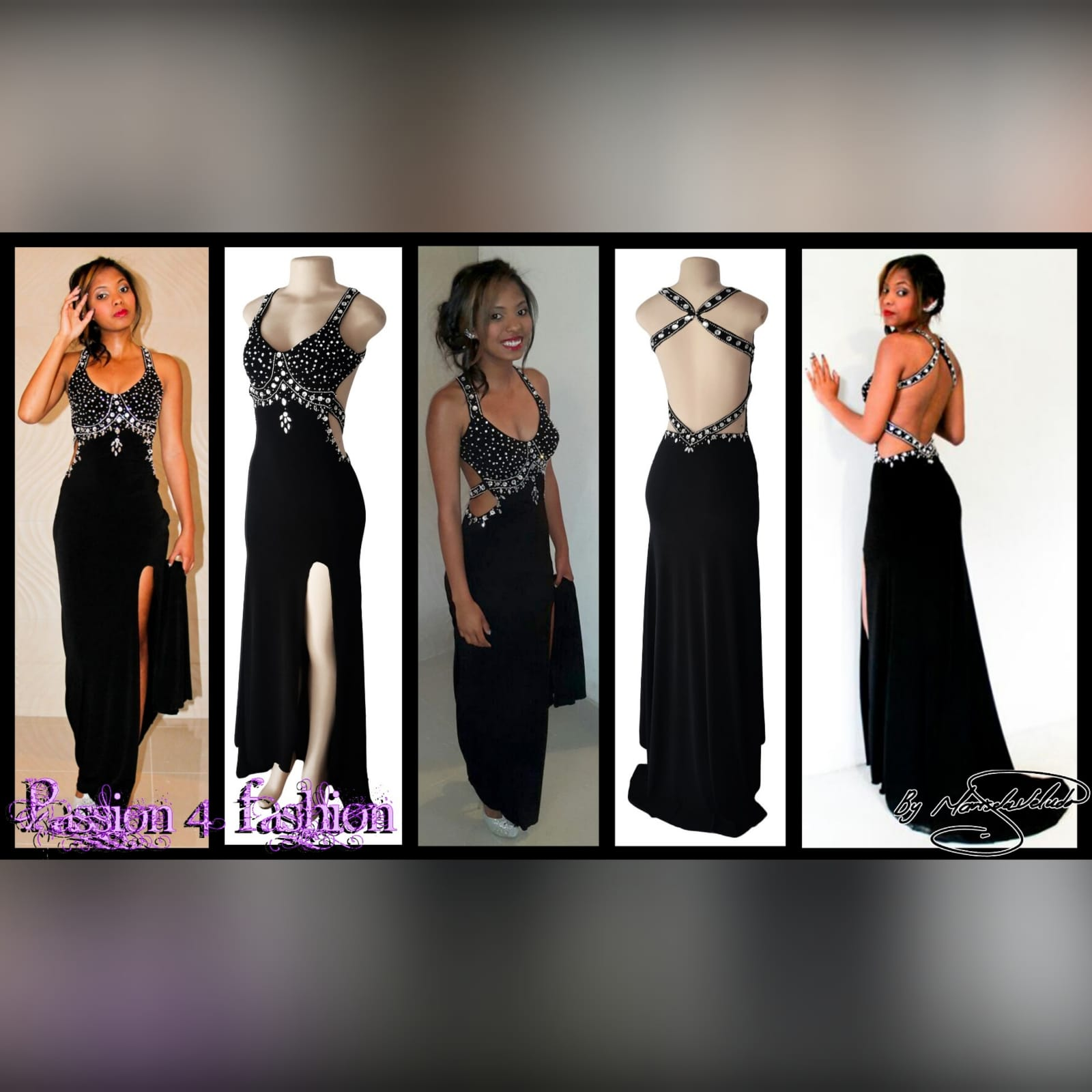 Black and silver prom dress with a low open back 4 black & silver prom dress with a low open back, a slit and train. Slightly open on the side of the tummy. Back straps and bodice detailed with silver beads and diamante