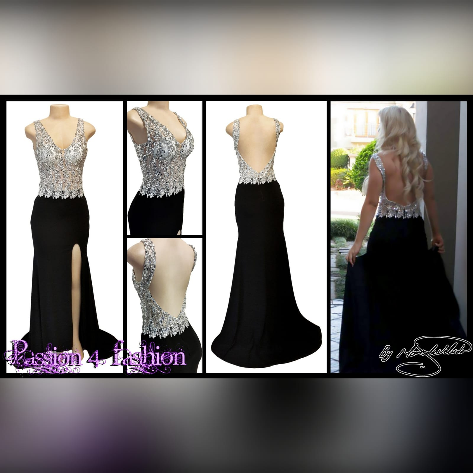 Black and silver prom dress with a slit and a train 4 black & silver prom dress with a slit and a train. Bodice with a sweetheart neckline and a low open back. With detailed silver beadwork through out the bodice