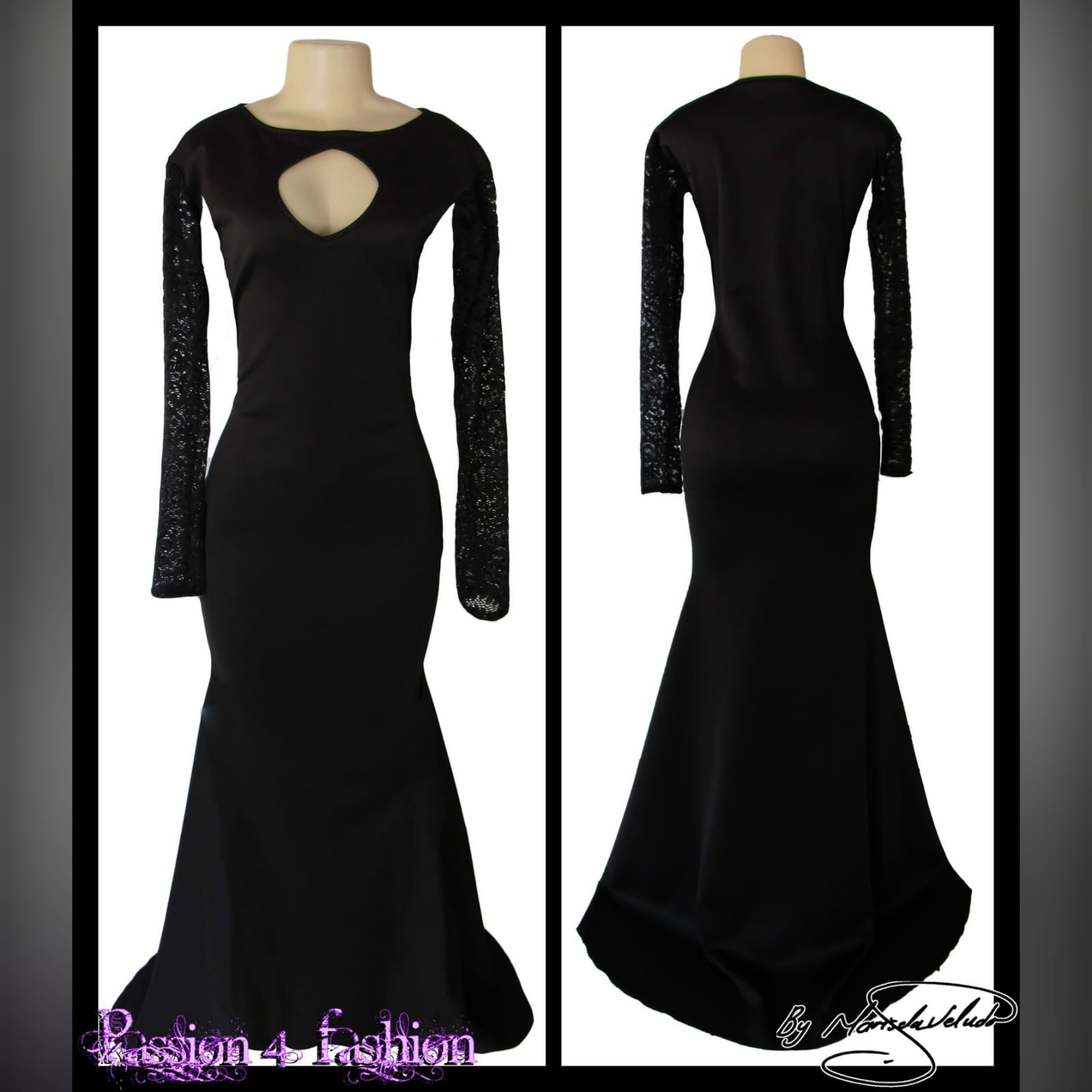 Black soft mermaid formal dress 2 black soft mermaid formal dress with sheer lace sleeves and a diamond shaped cleavage opening with a train.