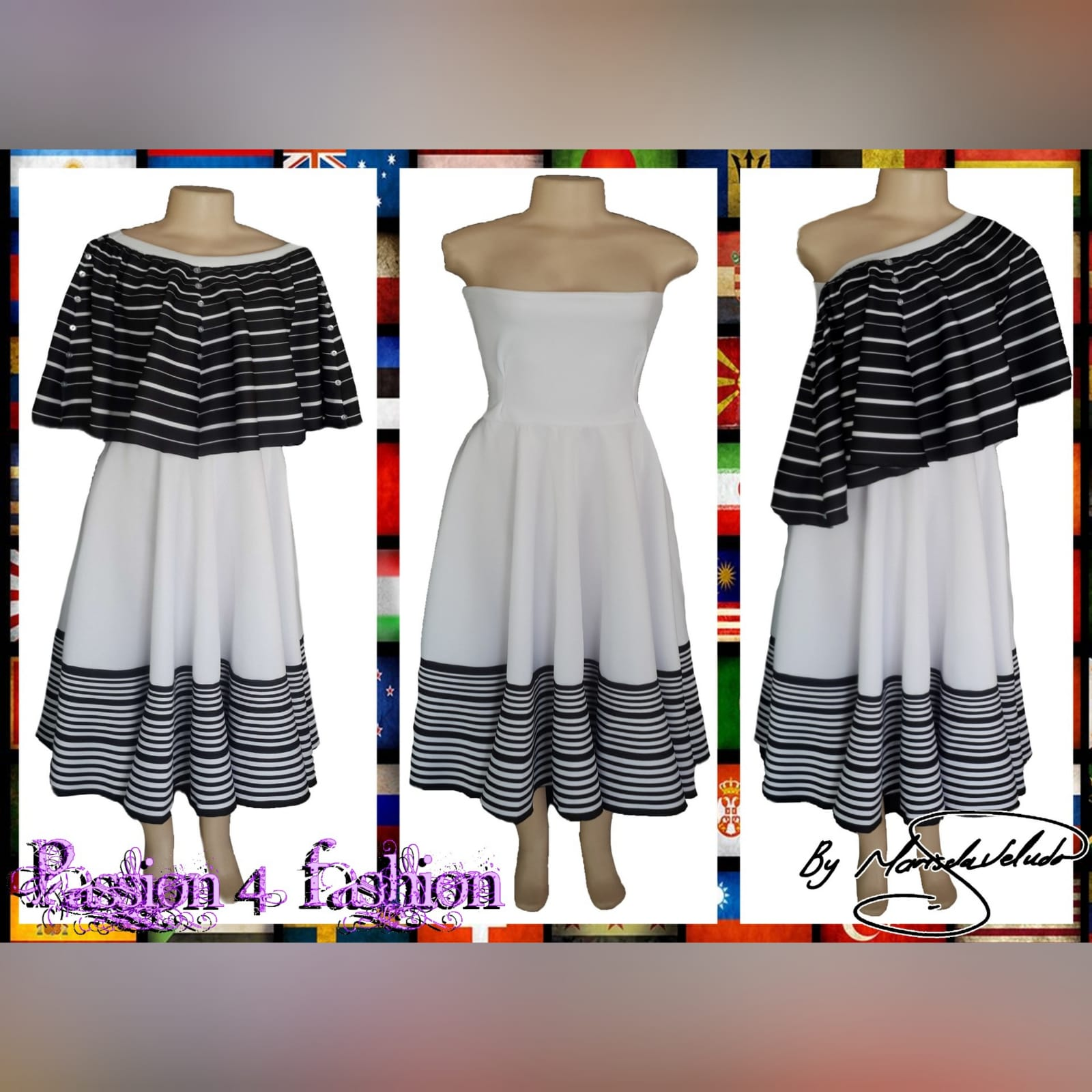 Black and white 2 piece modern traditional dress 2 xhosa black & white 2 piece modern traditional dress. Boob tube dress with a removable poncho