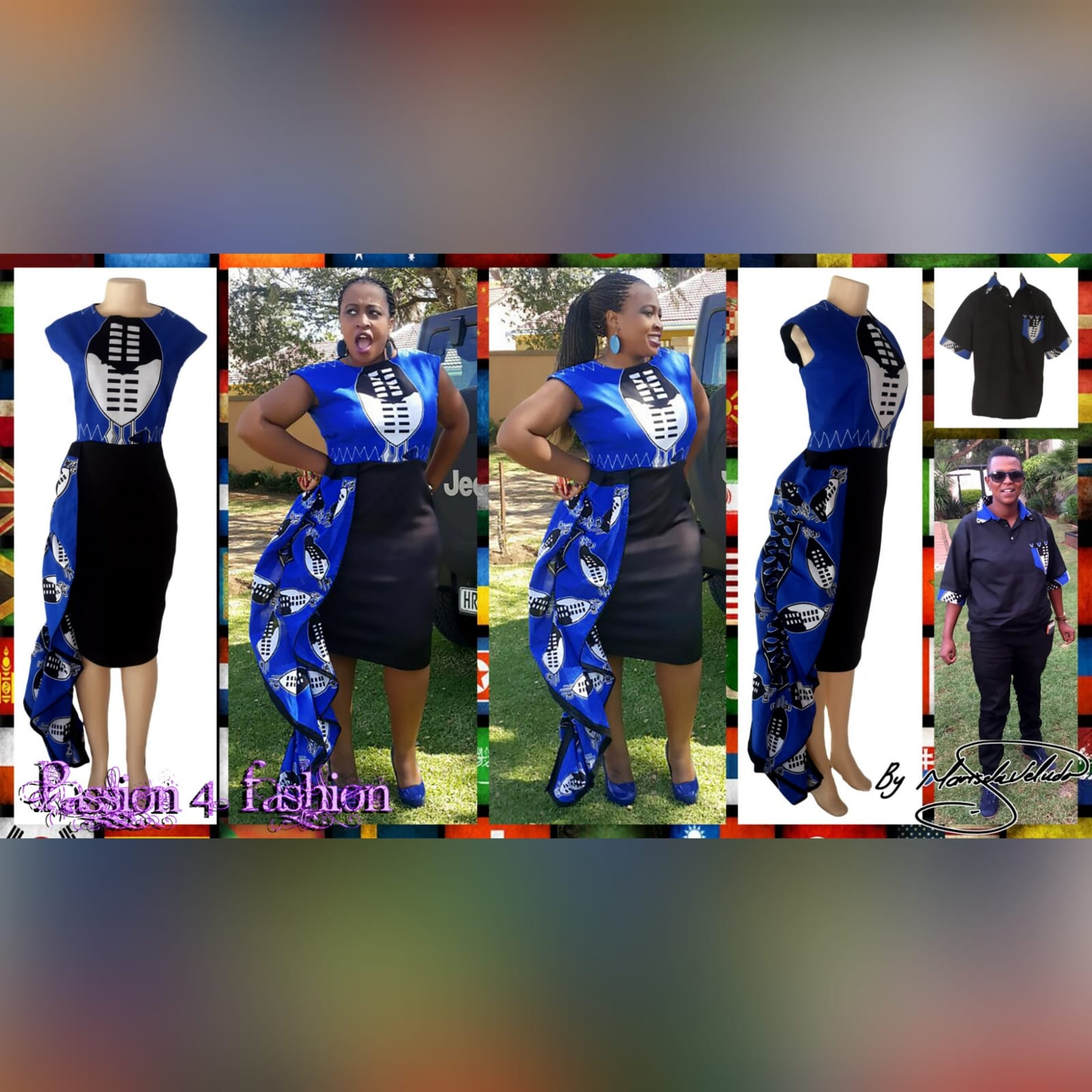 Blue swati knee length dress with hip frill 7 modern traditional knee-length fitted swati dress in blue, black and white. With a hip frill. With matching black golf shirt detailed with swati fabric. Traditional wedding attire.