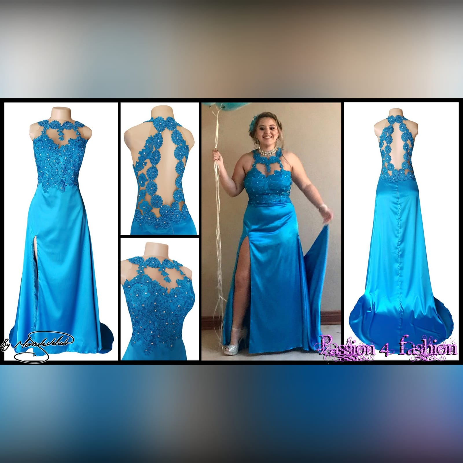 Blue long satin lace prom dress 8 blue long satin lace prom dress. Lace bodice with an illusion neckline and oval back opening with a slit and a train.