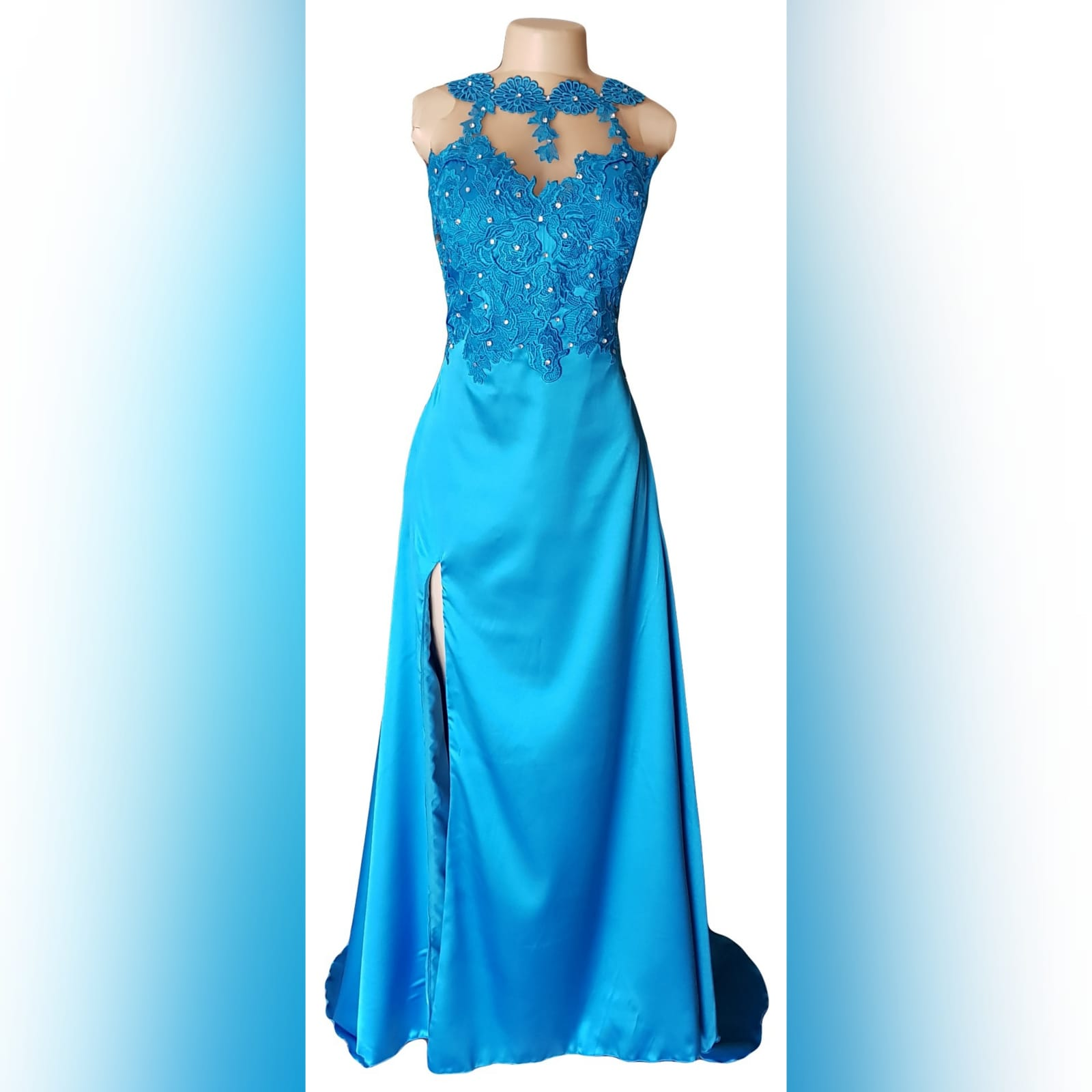 Blue long satin lace prom dress 5 blue long satin lace prom dress. Lace bodice with an illusion neckline and oval back opening with a slit and a train.