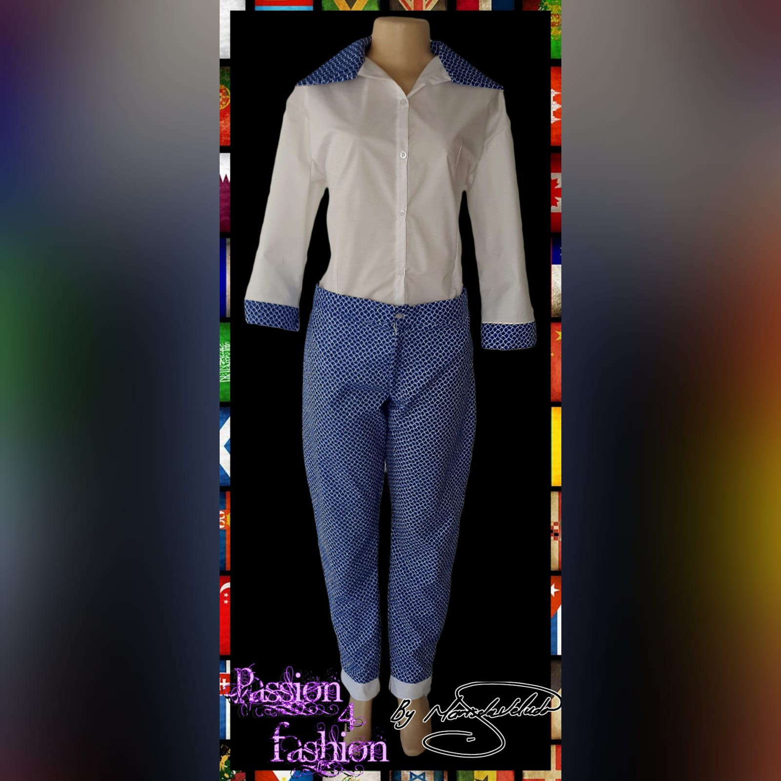Blue & white modern traditional pants & blouse 1 blue and white modern traditional wear pants with white blouse trimmed in traditional blue and white fabric