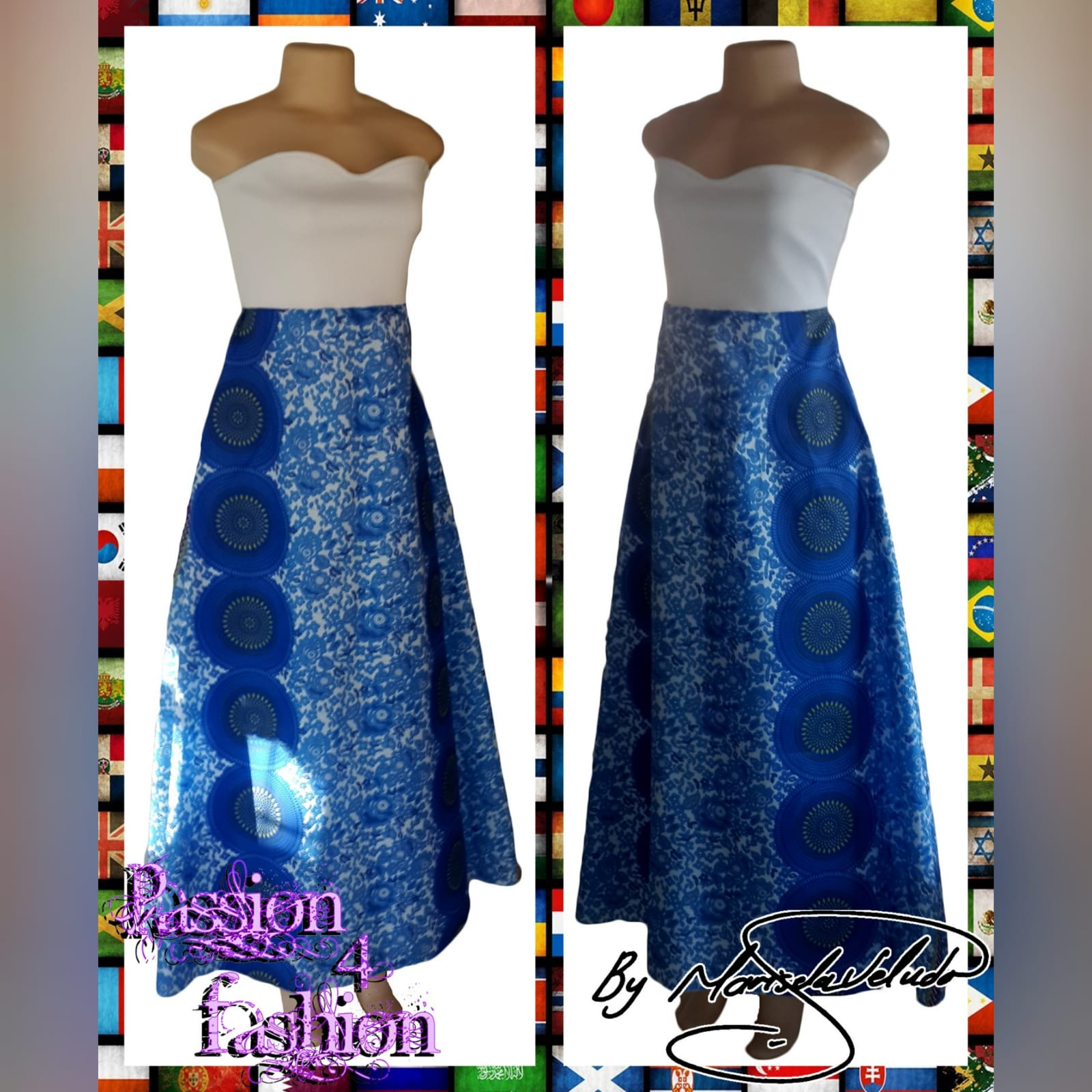 Vestido africano tradicional longo moderno 3 vestido africano tradicional longo moderno sul-africano azul e branco sem ombros com um corpete branco.