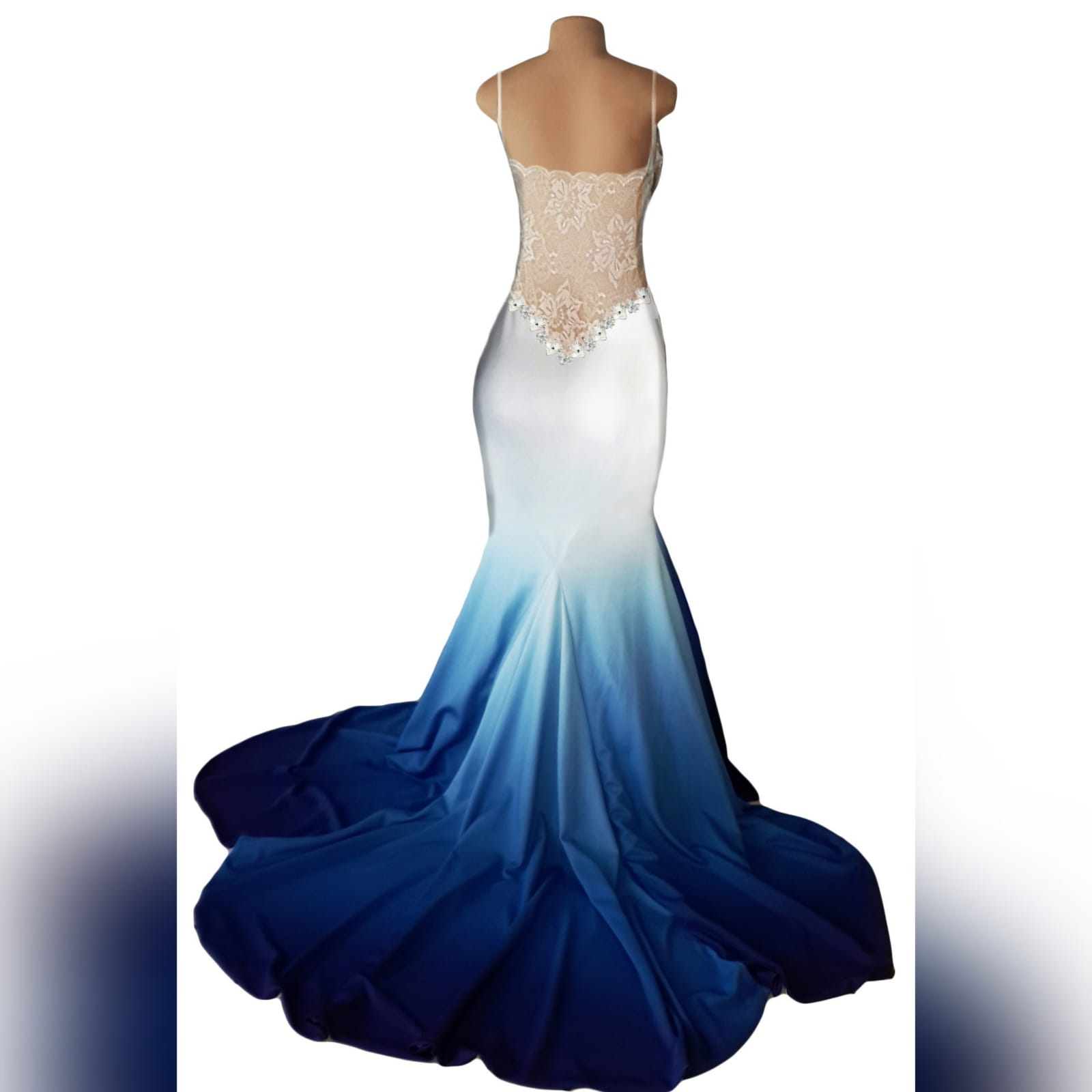 White & blue ombre soft mermaid prom dress with a sheer lace back 5 white & blue ombre soft mermaid prom dress with a sheer lace back. A sweetheart neckline. With a touch of silver beads and a train