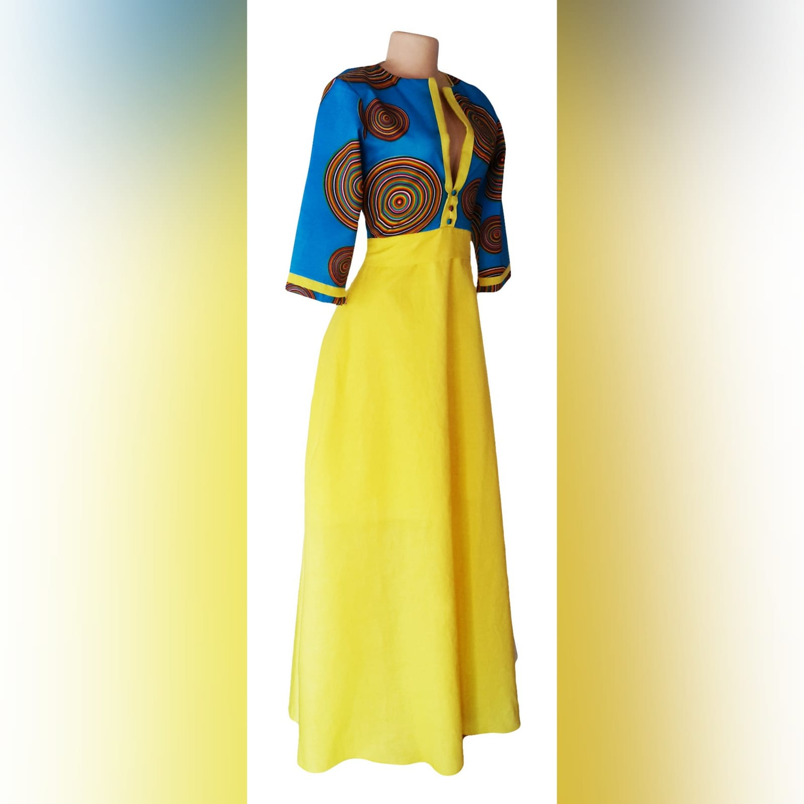 Blue & yellow modern traditional dress 9 modern traditional blue and yellow empire fit dress. Flowy bottom, neckline with a slit.