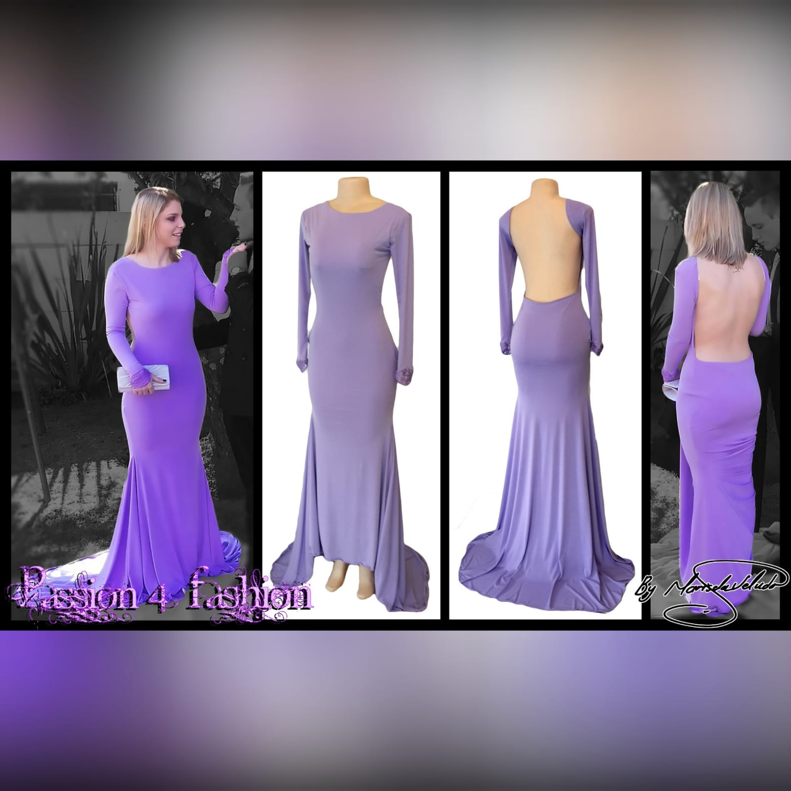 Body fitting lilac soft mermaid prom dress and a jewel neckline 5 body fitting lilac soft memaid prom dress and a jewel neckline. Low open square back. With a train and long sleeves. Sleeves finished with lace.