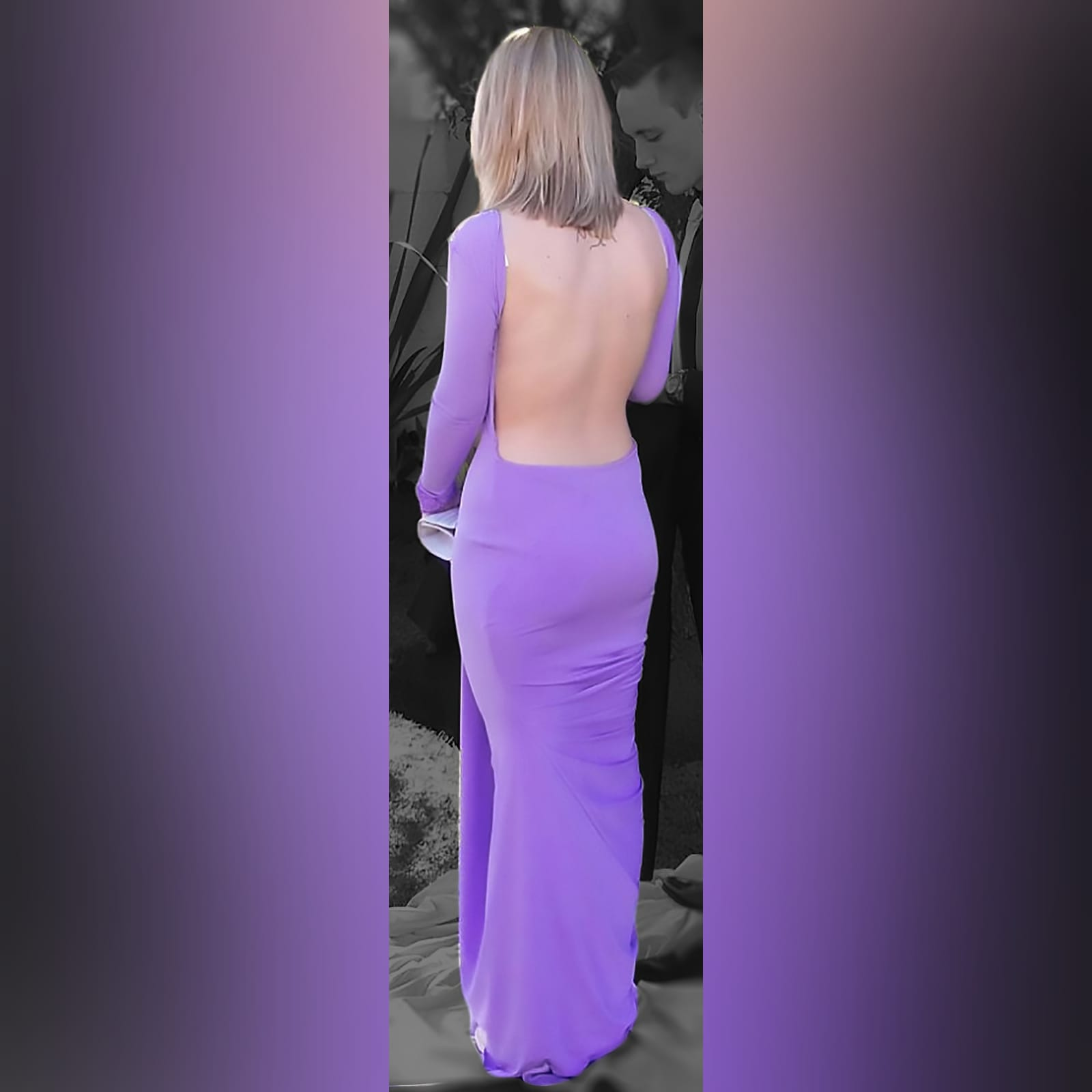 Body fitting lilac soft mermaid prom dress and a jewel neckline 1 body fitting lilac soft memaid prom dress and a jewel neckline. Low open square back. With a train and long sleeves. Sleeves finished with lace.