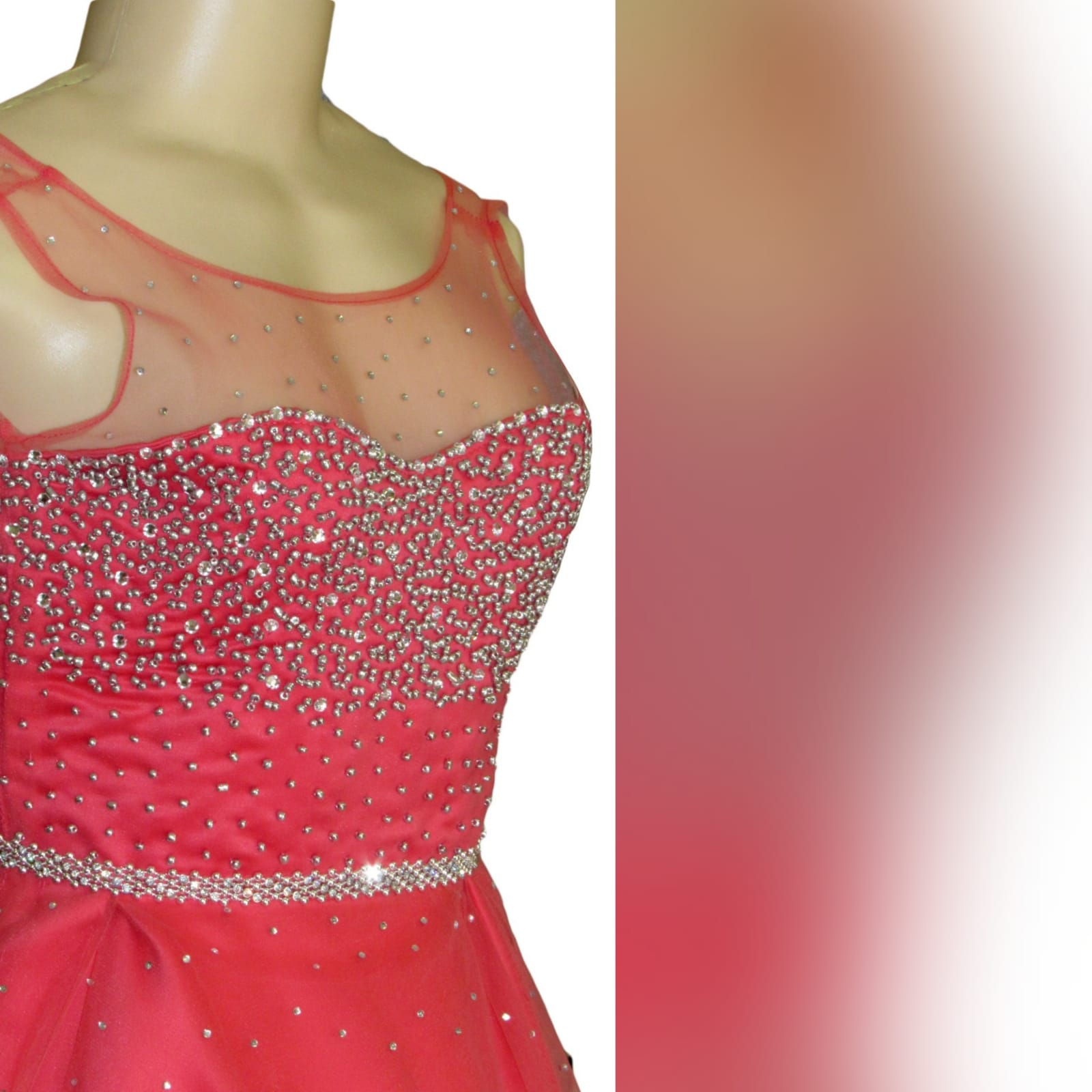 Bright coral and silver short evening gala dress 6 bright coral and silver short evening gala dress. Bodice and belt in silver beads with a few scattered beads at the bottom of the dress