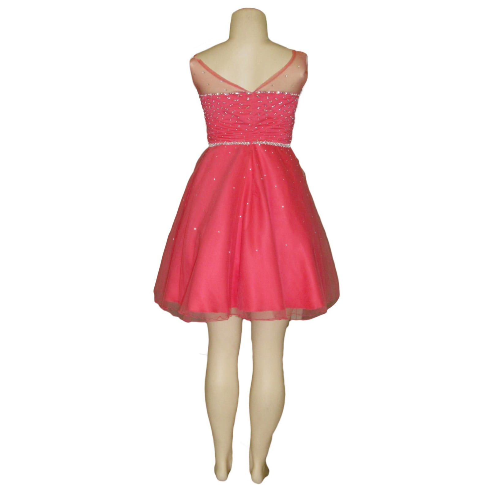 Bright coral and silver short evening gala dress 5 bright coral and silver short evening gala dress. Bodice and belt in silver beads with a few scattered beads at the bottom of the dress
