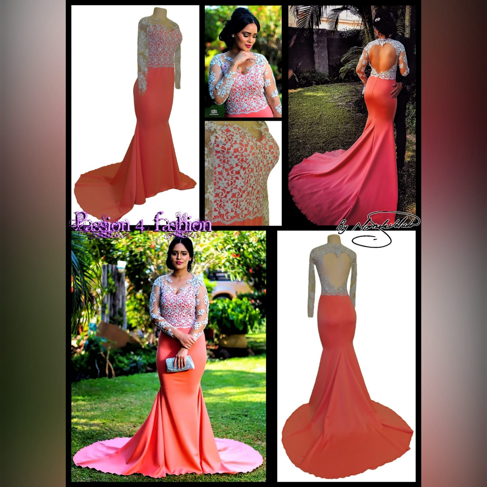 Bright coral and silver soft mermaid prom dress 7 bright coral and silver soft mermaid prom dress with a train. Bodice detailed in silver with an open heart shaped back and long illusion lace sleeves