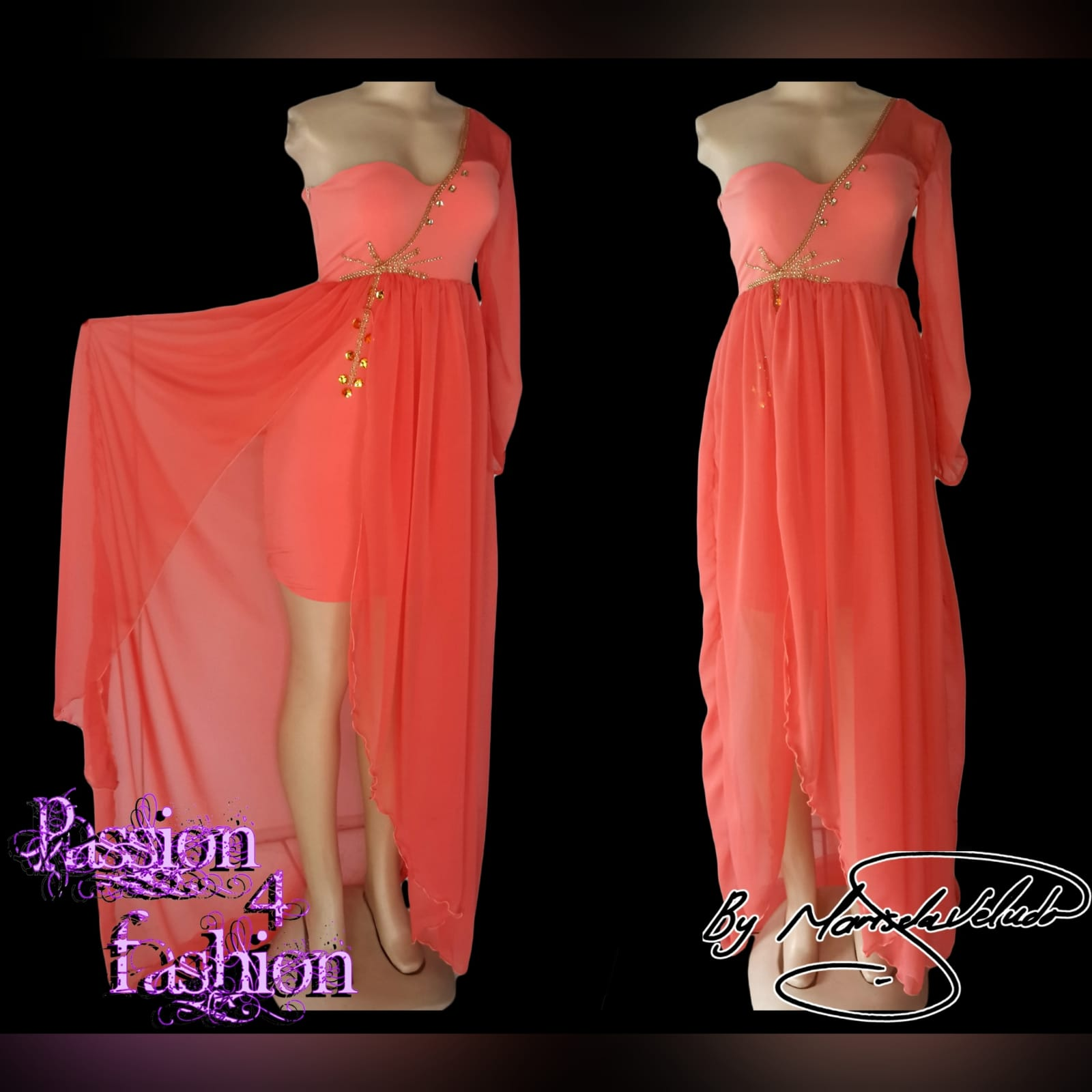 Bright coral flowy engagement dress 3 bright coral flowy engagement dress. Mini dress with a one shoulder and sleeve in chiffon, with an added gathered chiffon skirt part with a slit, dress detailed with gold bead work