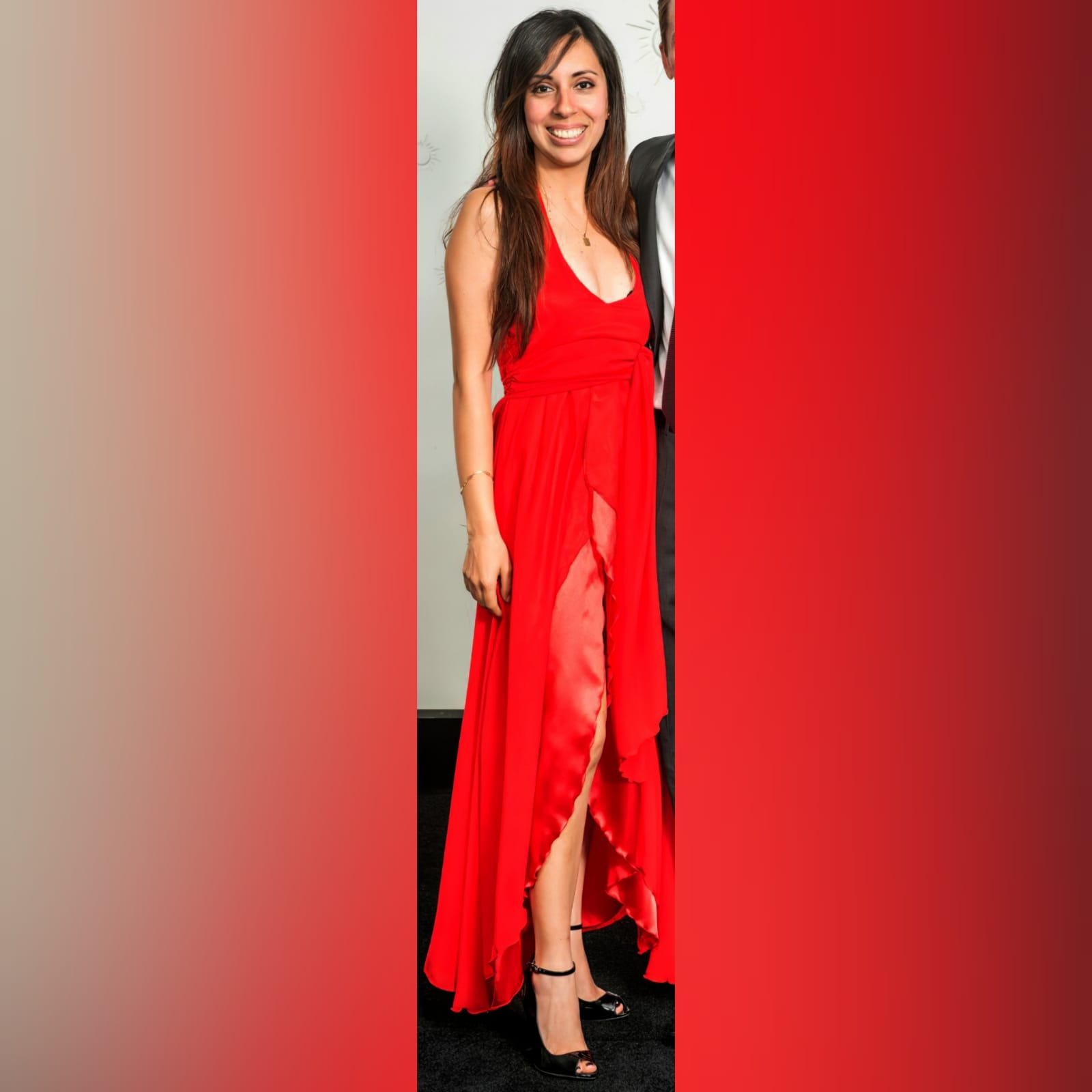 Bright red halter neck evening dress 2 bright red halter neck evening dress with a satin and chiffon crossed layer creating a double slit. A ruched belt
