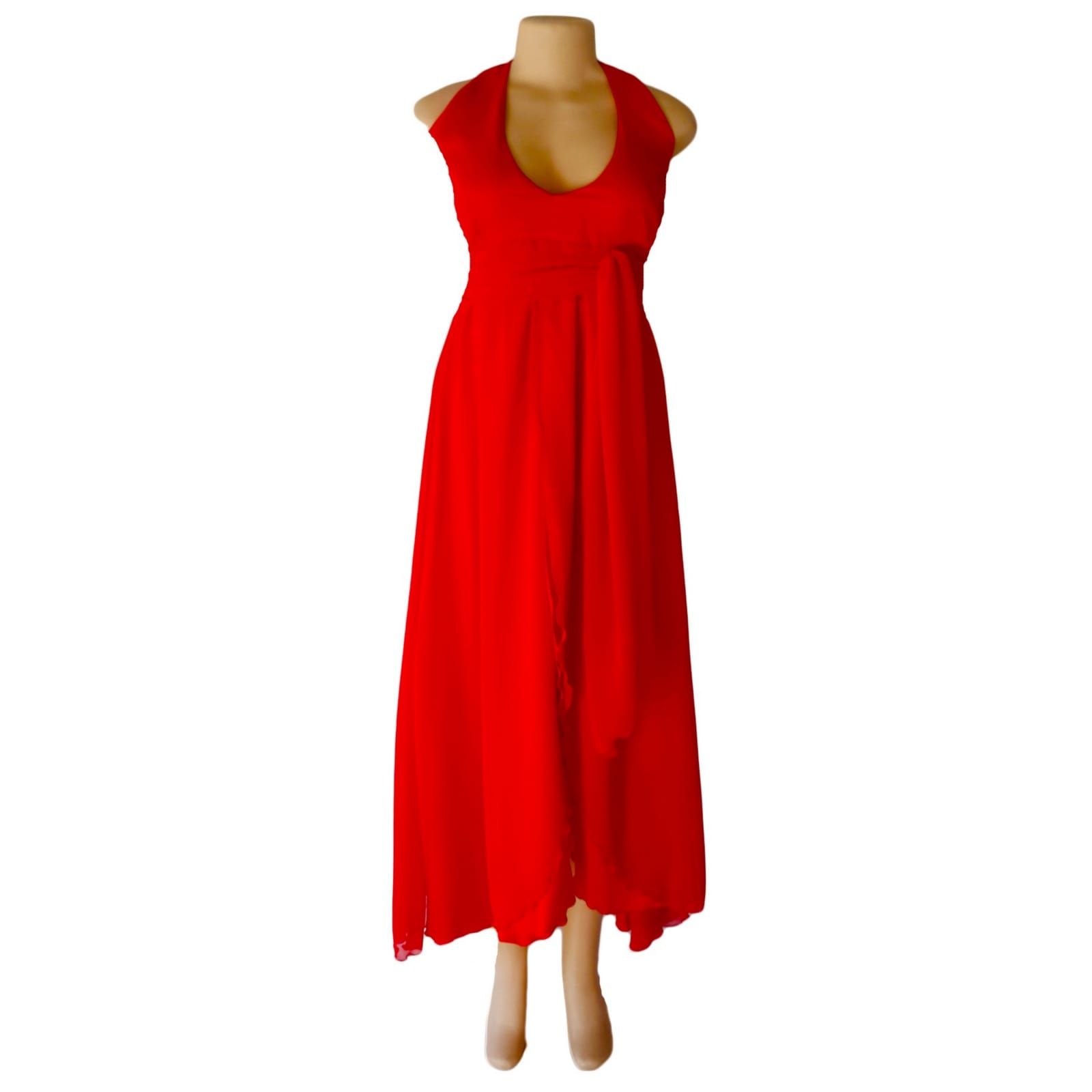 Bright red halter neck evening dress 4 bright red halter neck evening dress with a satin and chiffon crossed layer creating a double slit. A ruched belt