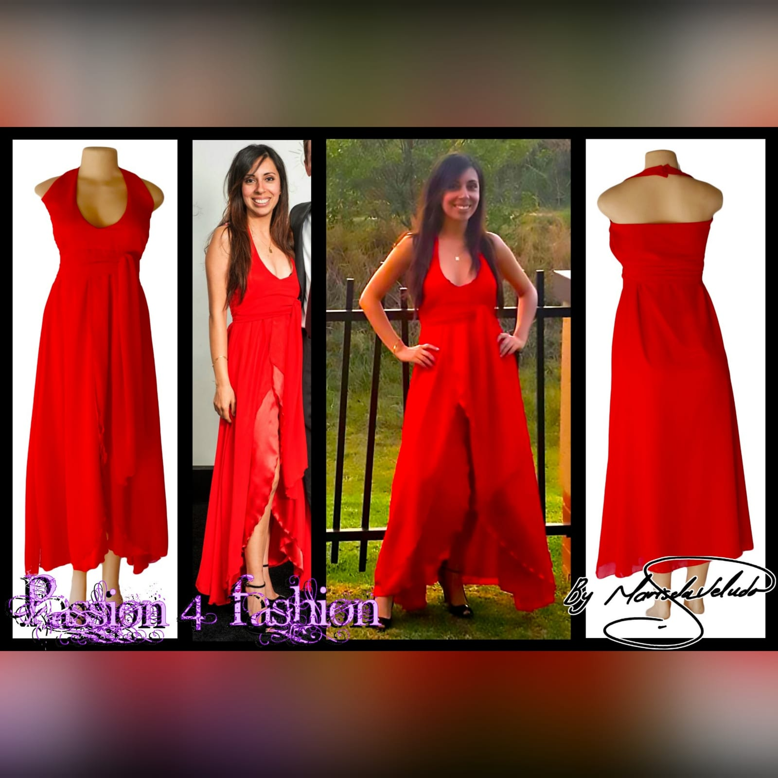 Bright red halter neck evening dress 5 bright red halter neck evening dress with a satin and chiffon crossed layer creating a double slit. A ruched belt