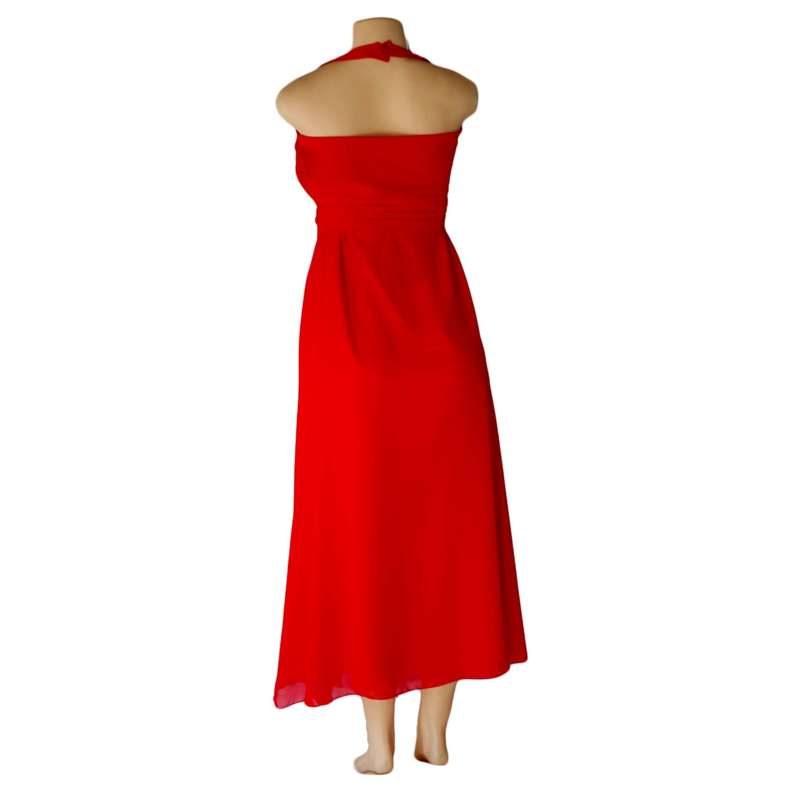 Bright red halter neck evening dress 3 bright red halter neck evening dress with a satin and chiffon crossed layer creating a double slit. A ruched belt