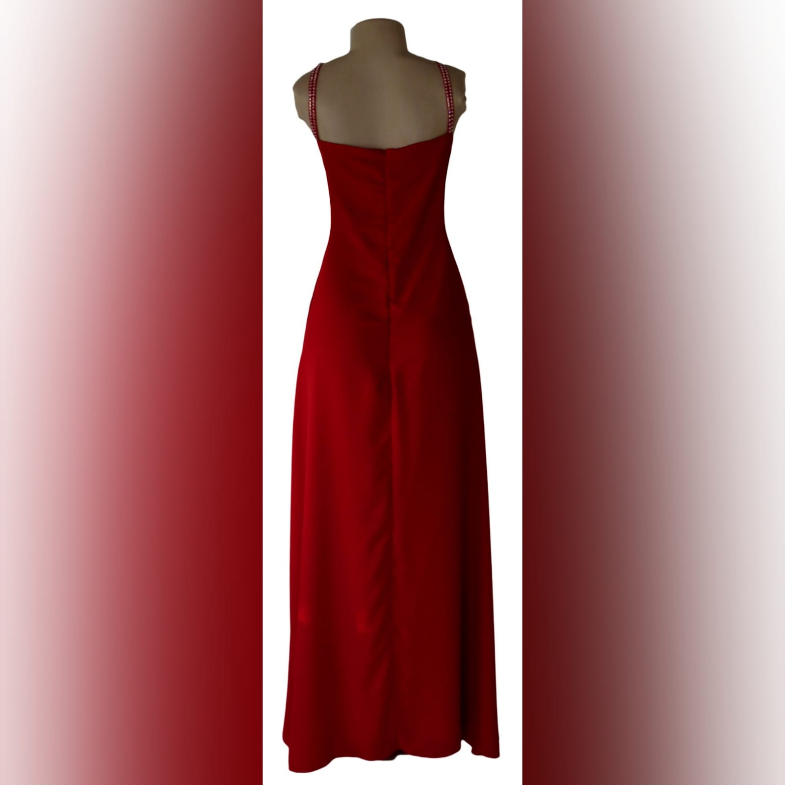 Bright red long crossed slit evening dress 2 bright red long crossed slit evening dress with a ruched bodice and hip. Shoulder straps detailed with diamante.