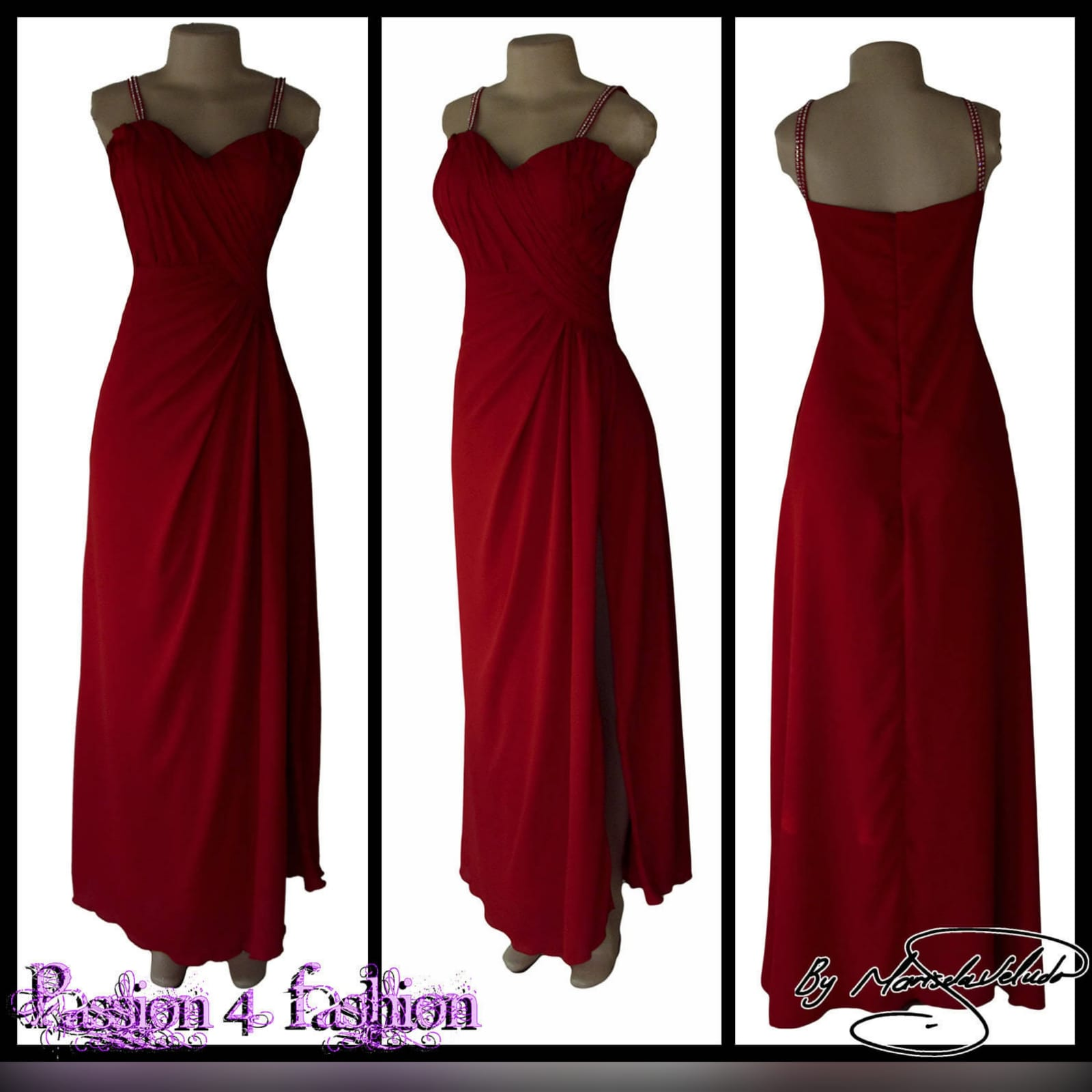 Bright red long crossed slit evening dress 4 bright red long crossed slit evening dress with a ruched bodice and hip. Shoulder straps detailed with diamante.