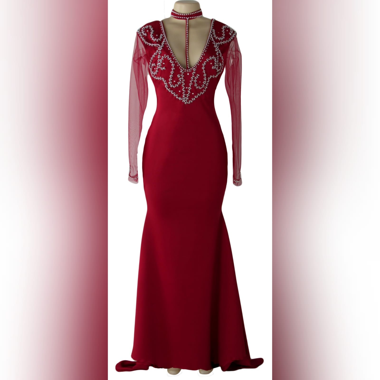 Beaded red long evening party dress 4 red long evening party dress, fitted till hip then it flares out a bit, with a train, with long sheer sleeves. Dress with a v neckline detailed in silver with an optional choker.
