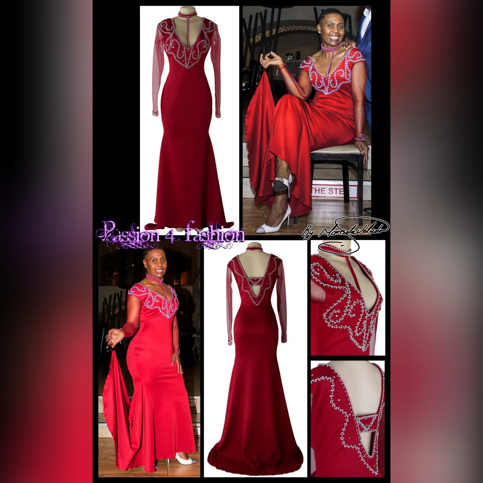 Beaded red long evening party dress 5 red long evening party dress, fitted till hip then it flares out a bit, with a train, with long sheer sleeves. Dress with a v neckline detailed in silver with an optional choker.