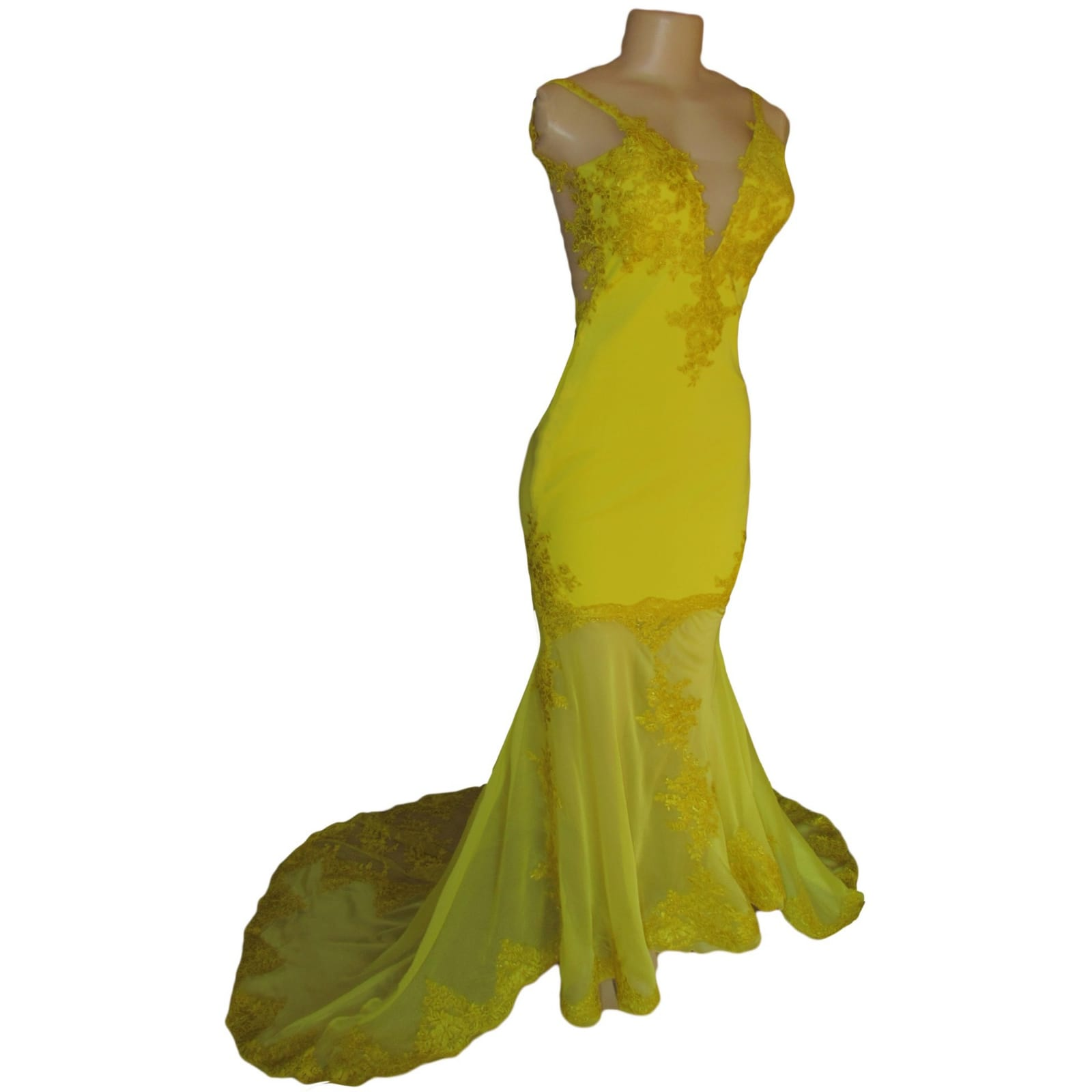 Canary yellow lace soft mermaid prom dress 7 canary yellow, lace, soft mermaid prom dance dress with sheer legs, detailed with lace. With an illusion open back.