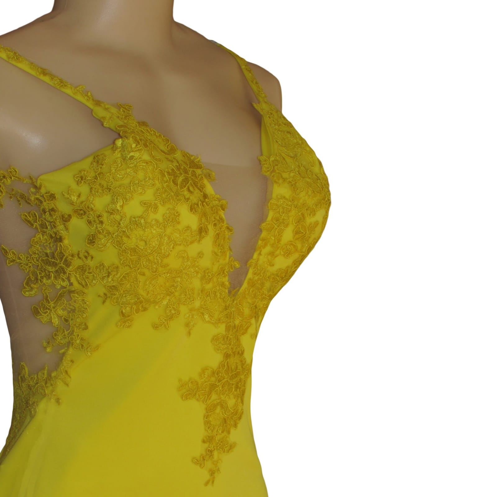 Canary yellow lace soft mermaid prom dress 3 canary yellow, lace, soft mermaid prom dance dress with sheer legs, detailed with lace. With an illusion open back.
