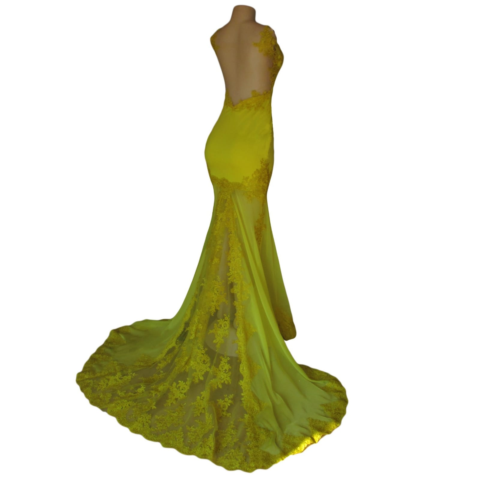 Canary yellow lace soft mermaid prom dress 4 canary yellow, lace, soft mermaid prom dance dress with sheer legs, detailed with lace. With an illusion open back.