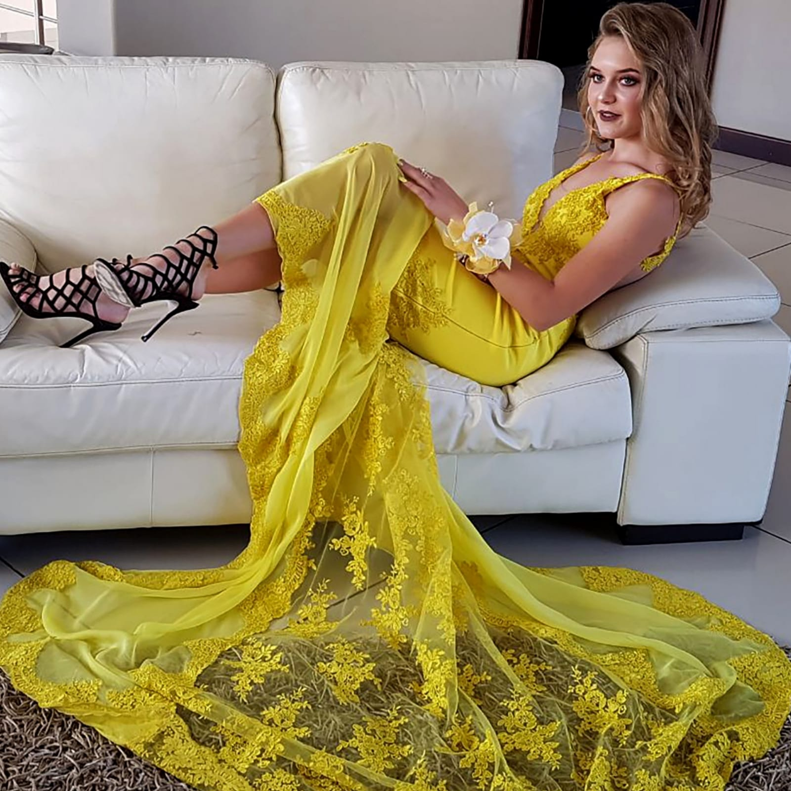 Canary yellow lace soft mermaid prom dress 5 canary yellow, lace, soft mermaid prom dance dress with sheer legs, detailed with lace. With an illusion open back.