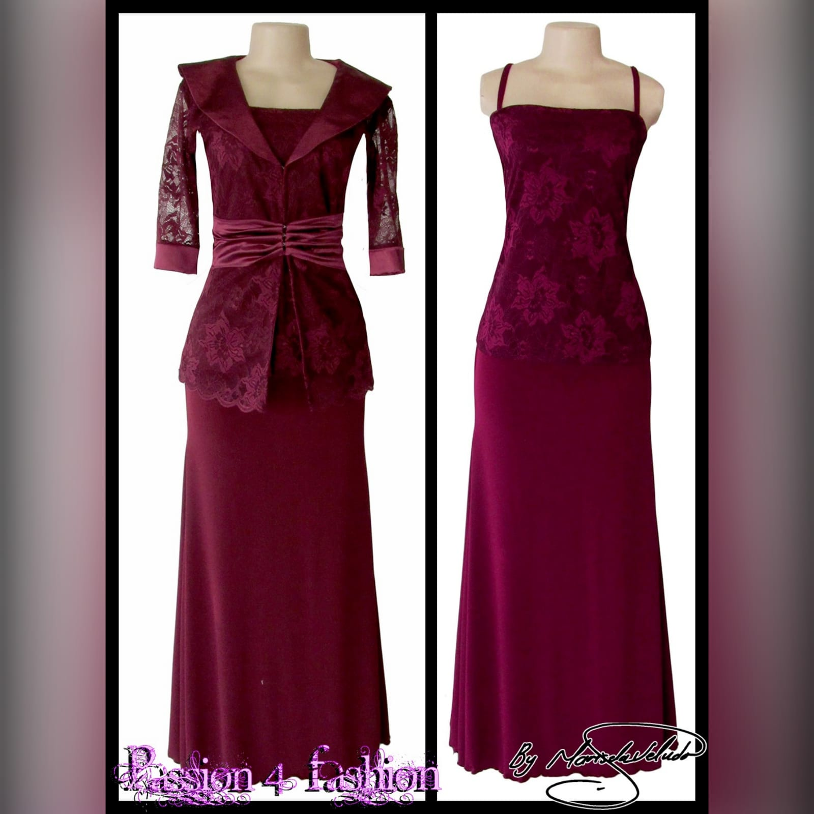 Burgundy 3 piece mother of the bride outfit 4 burgundy 3 piece mother of the bride outfit. With a lace top and a removable lace jacket with collar, ruched belt and sheer 3/4 sleeves with a cuff.