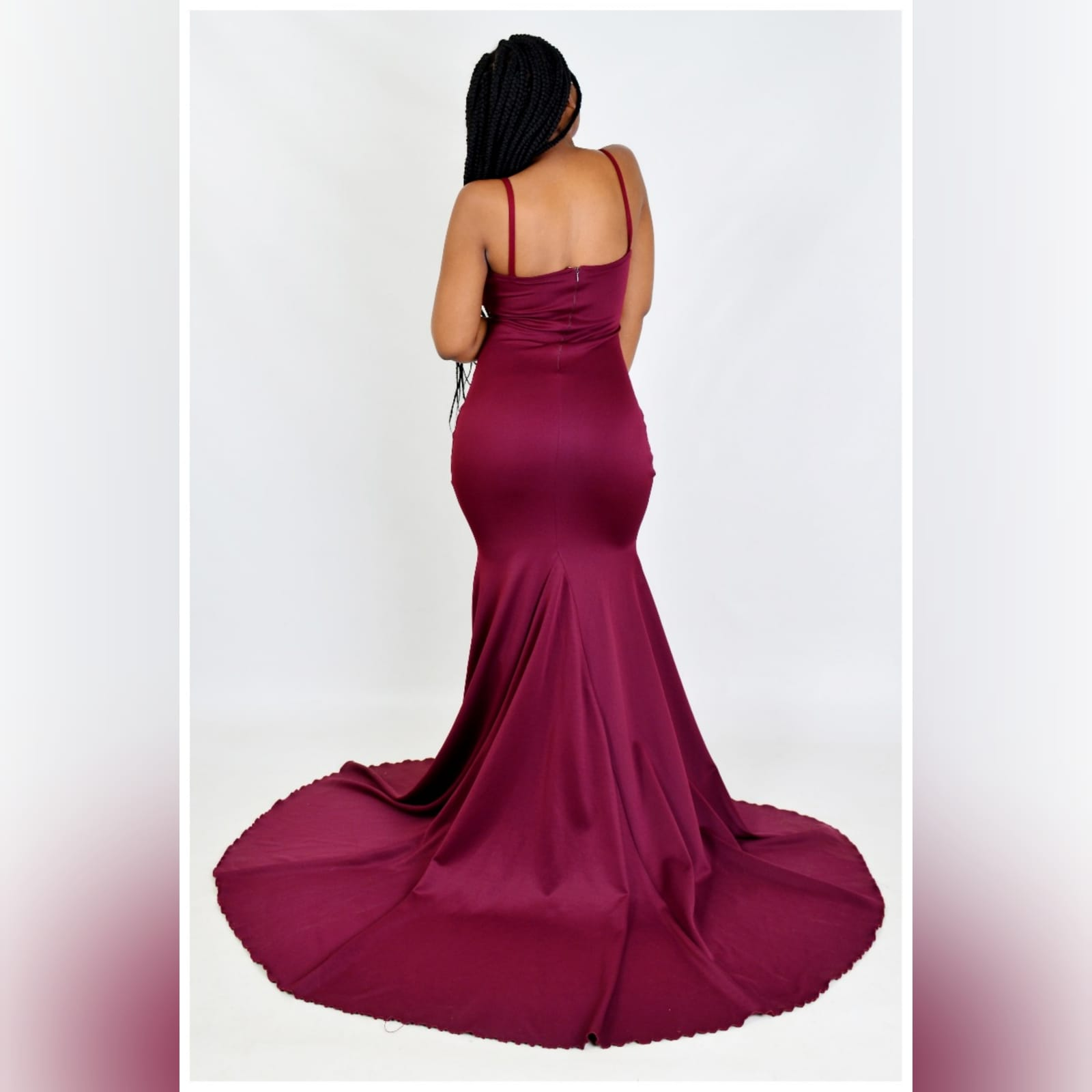 Elegant soft mermaid dress in burgundy 3 a simple elegant soft mermaid dress in burgundy, for an engagement celebration. With a train to add some drama to the simple look and removable shoulder straps for the choice of use and more support.