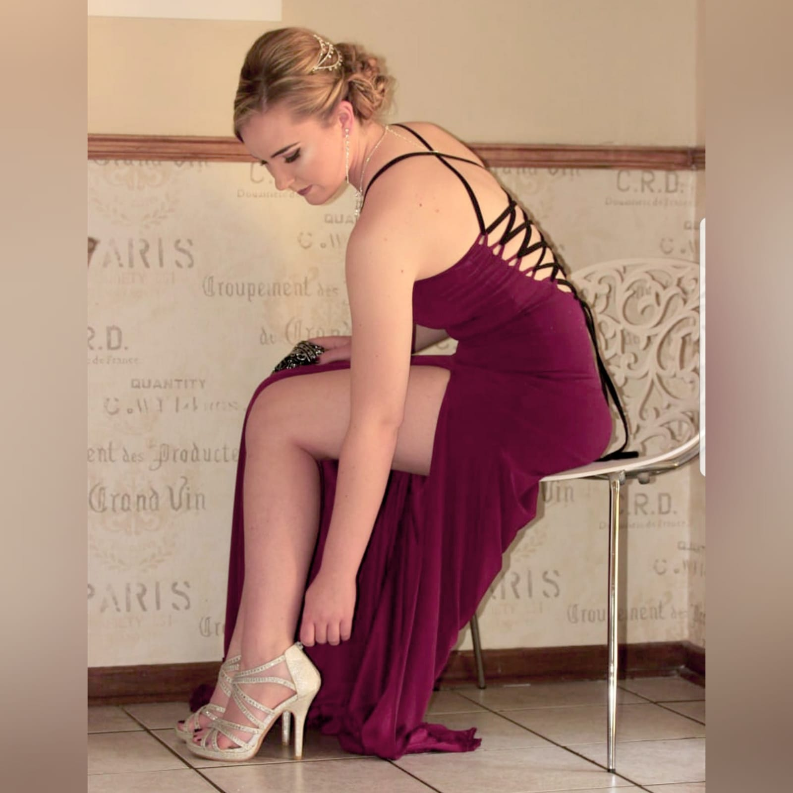 Burgundy, black and silver long sexy matric farewell dress 1 burgundy, black and silver long sexy matric farewell dress, open back with lace up detail, sheer lace train, with a slit and a v neckline.
