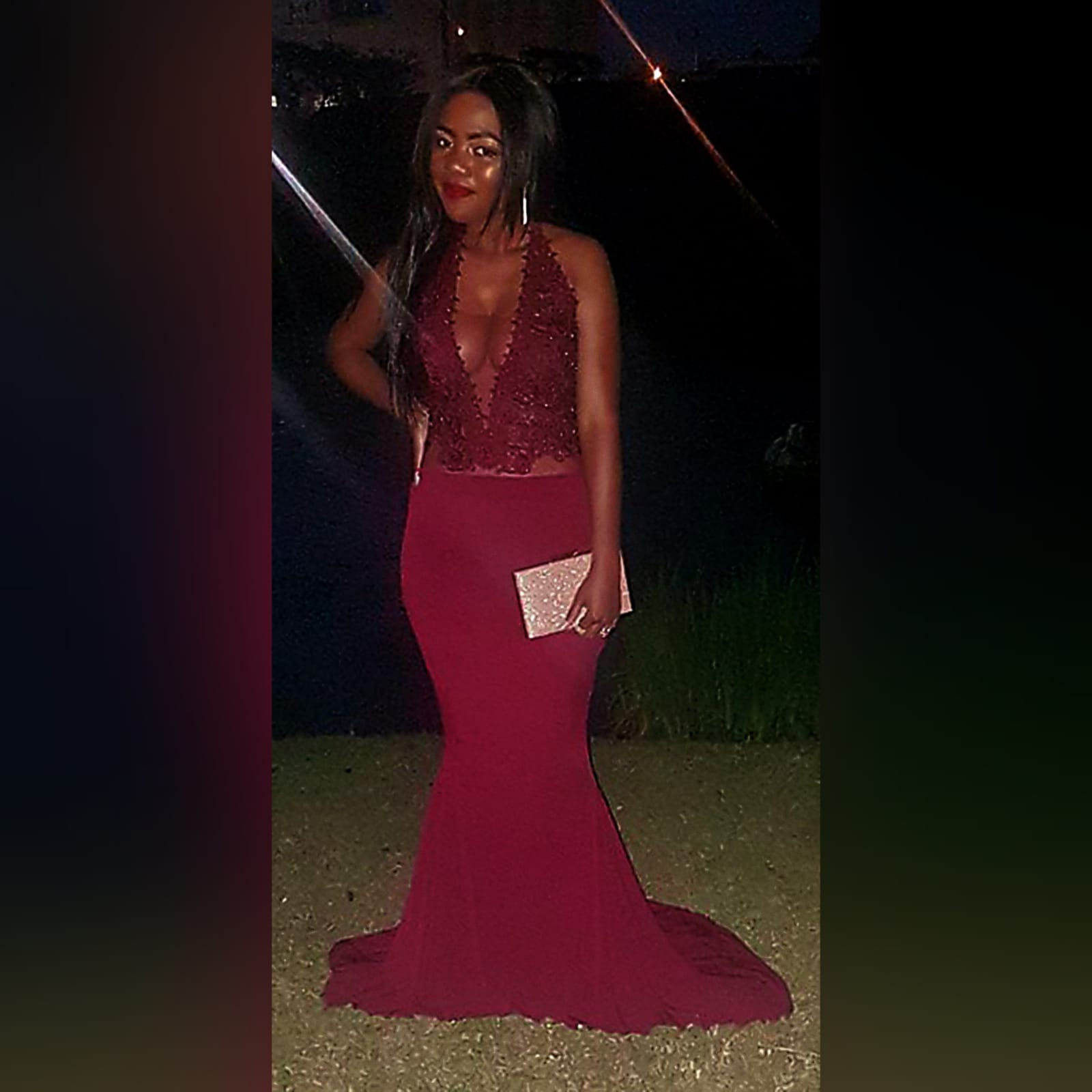 Burgundy illusion bodice soft mermaid prom dress 6 burgundy illusion bodice, soft mermaid prom dress. With a plunging neckline, low v open back with crossed straps detailed with gold beads.